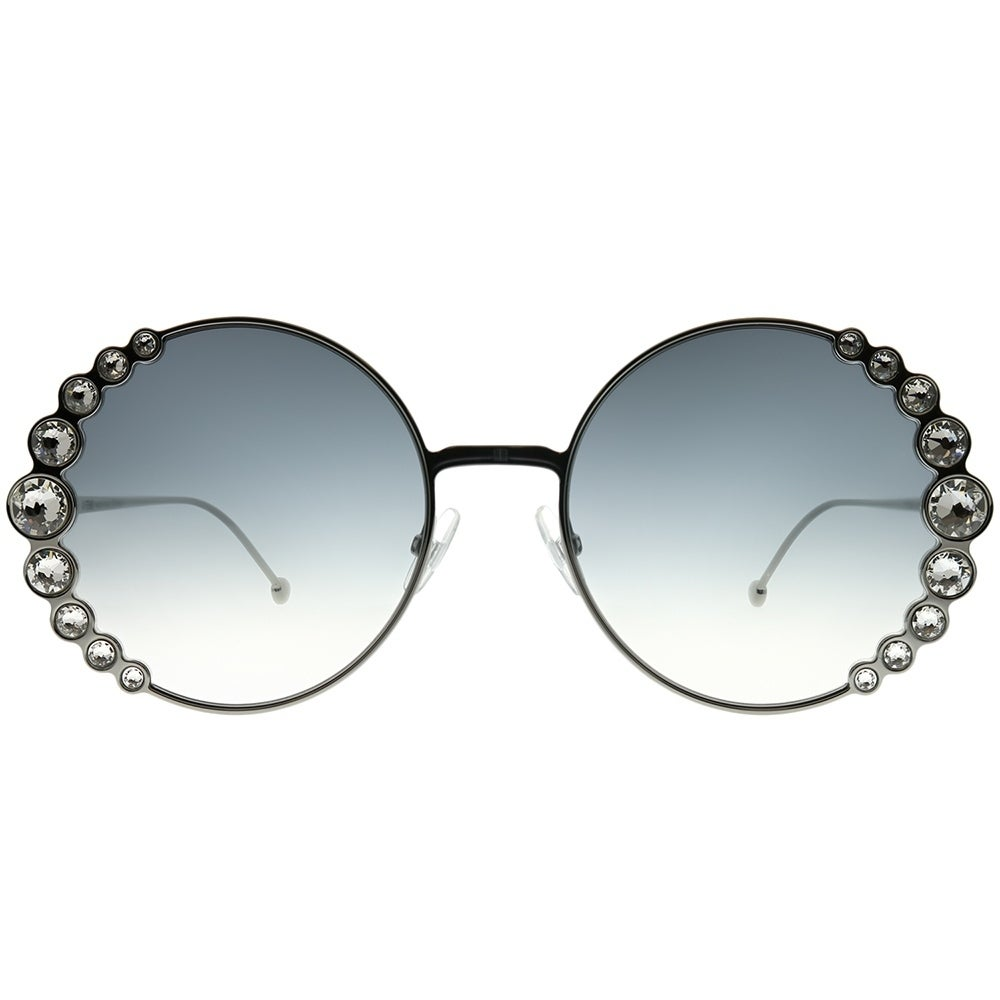 4440dce013 Shop Fendi Round FF 0324 S Ribbons And Crystals 6LB 9O Women Ruthenium  Frame Dark Grey Gradient Lens Sunglasses - Free Shipping Today - Overstock  - 24262714