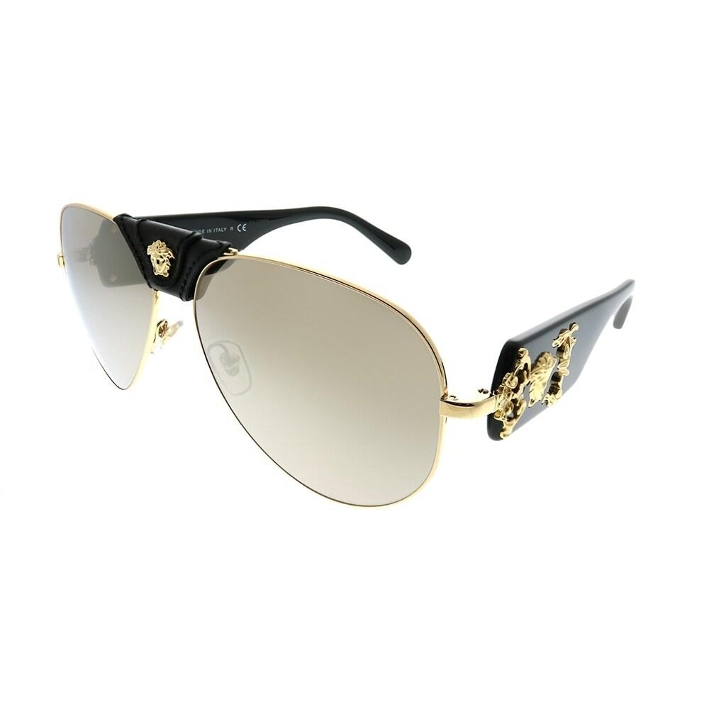 82f340ab11821 Versace Aviator VE 2150Q 10025A Unisex Gold Frame Dark Gold Mirror Lens  Sunglasses