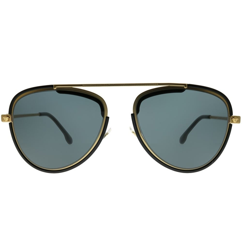 b2a84d687415 Shop Versace Aviator VE 2193 142887 Unisex Tribute Gold Black Frame Grey  Lens Sunglasses - Free Shipping Today - Overstock - 24262718