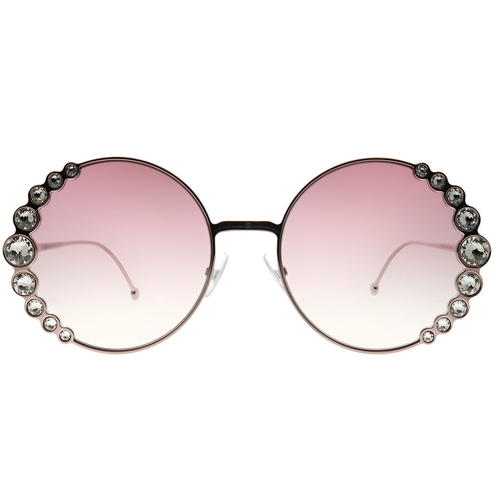 2253ca5037 Shop Fendi Round FF 0324 S Ribbons And Crystals 35J 3X Women Pink Frame  Pink Gradient Lens Sunglasses - Free Shipping Today - Overstock - 24262743