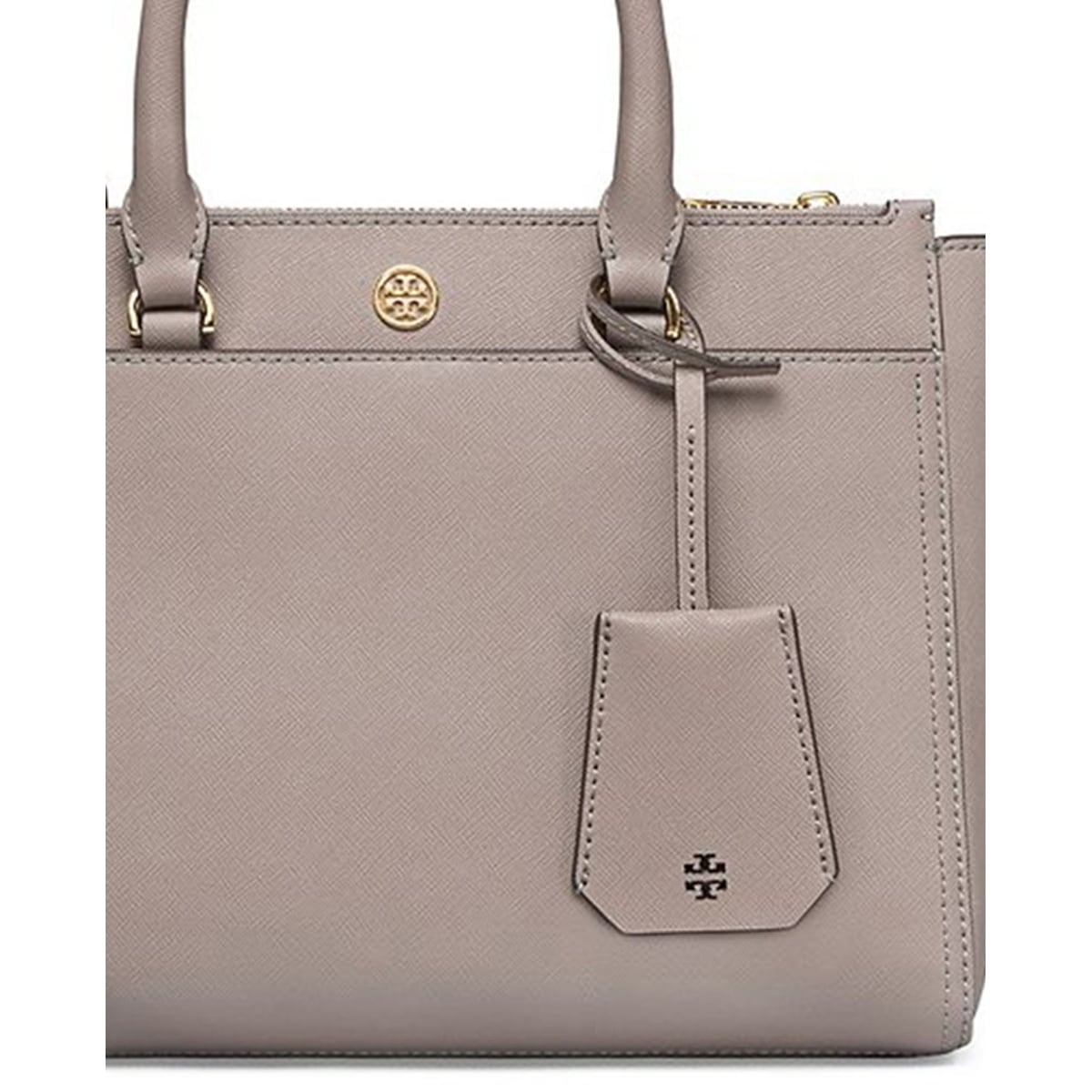 83edcd395e0 Shop Tory Burch Robinson Grey Heron Leather Small Double-zip Tote ...