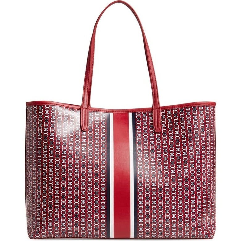 dde8deadc Shop Tory Burch Gemini Link Coated Canvas Tote Redstone - Free Shipping  Today - Overstock - 24266143
