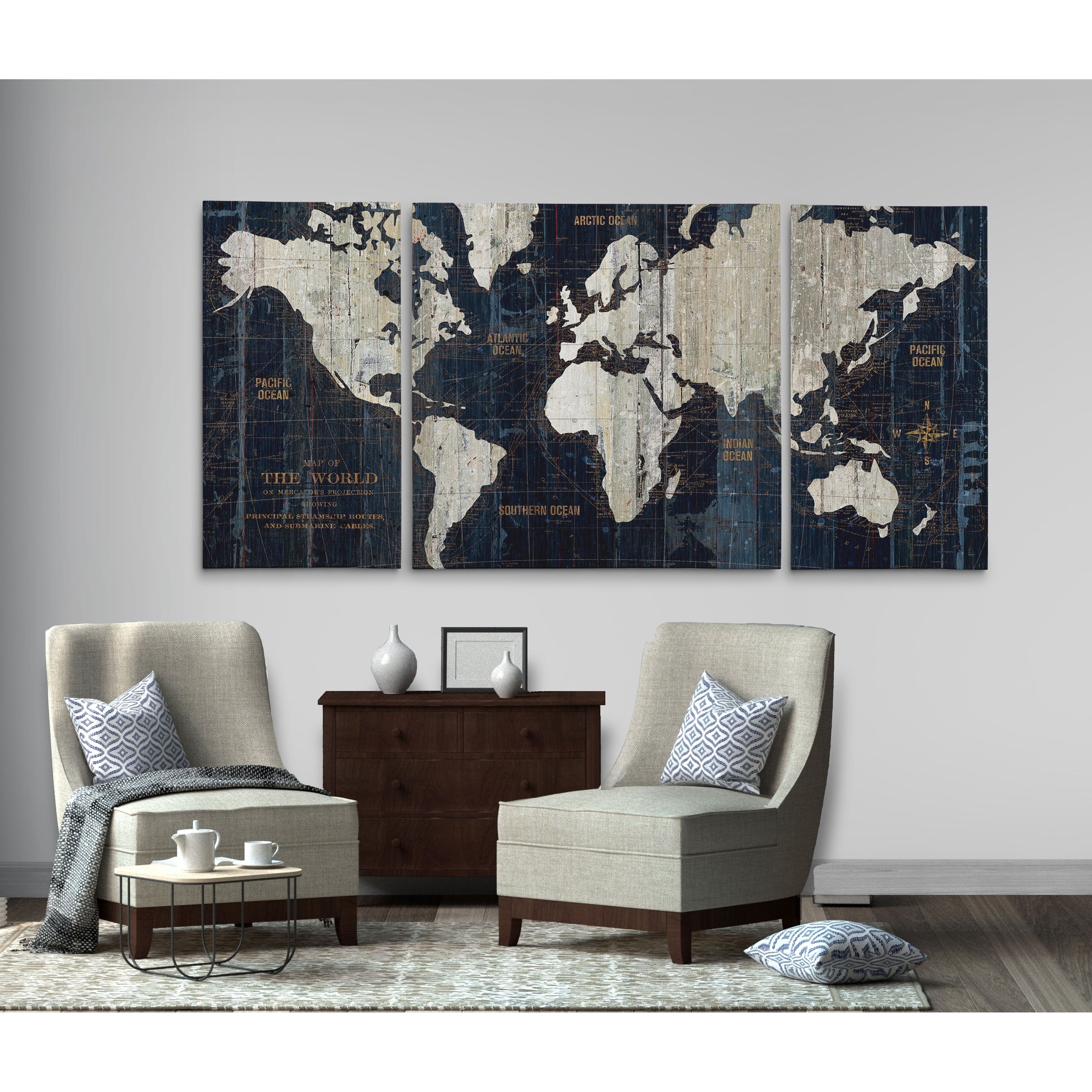 144f4c653de Shop  Old World Map Blue  3 Piece Graphic Art Print Set on Wrapped Canvas -  Blue - On Sale - Free Shipping Today - Overstock - 24267502