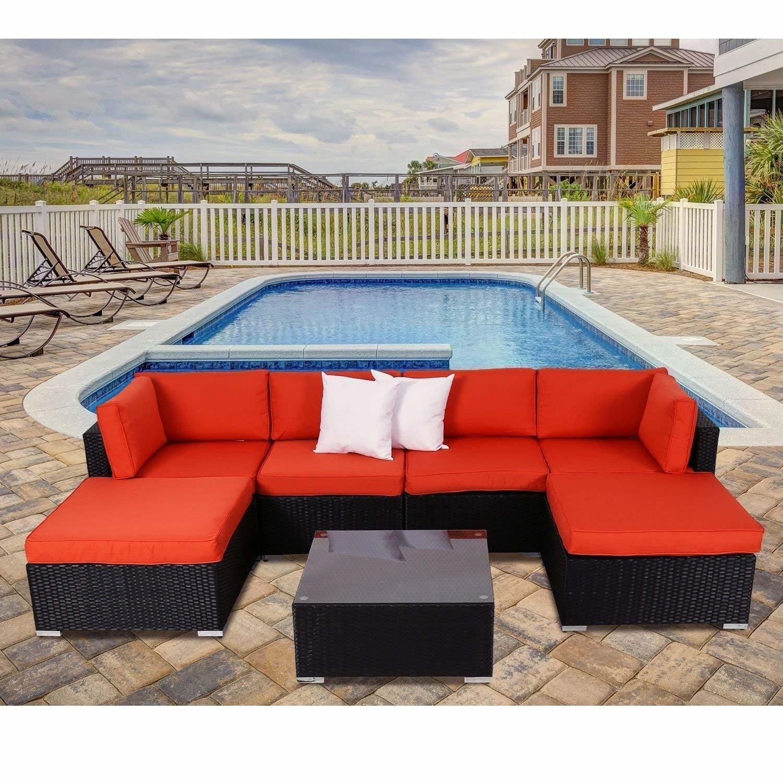Shop Kinbor 7 Pcs Outdoor Patio Furniture Sectional Pe Wicker Rattan