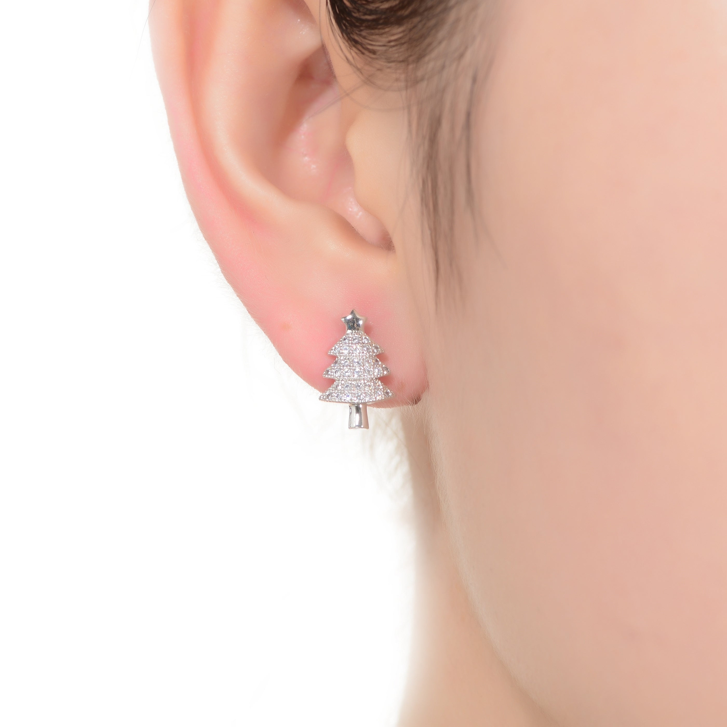 85f1be78c Shop Collette Z Sterling Silver with Rhodium Plated Clear Round Cubic  Zirconia Pave Christmas Tree Earrings - On Sale - Free Shipping On Orders  Over $45 ...