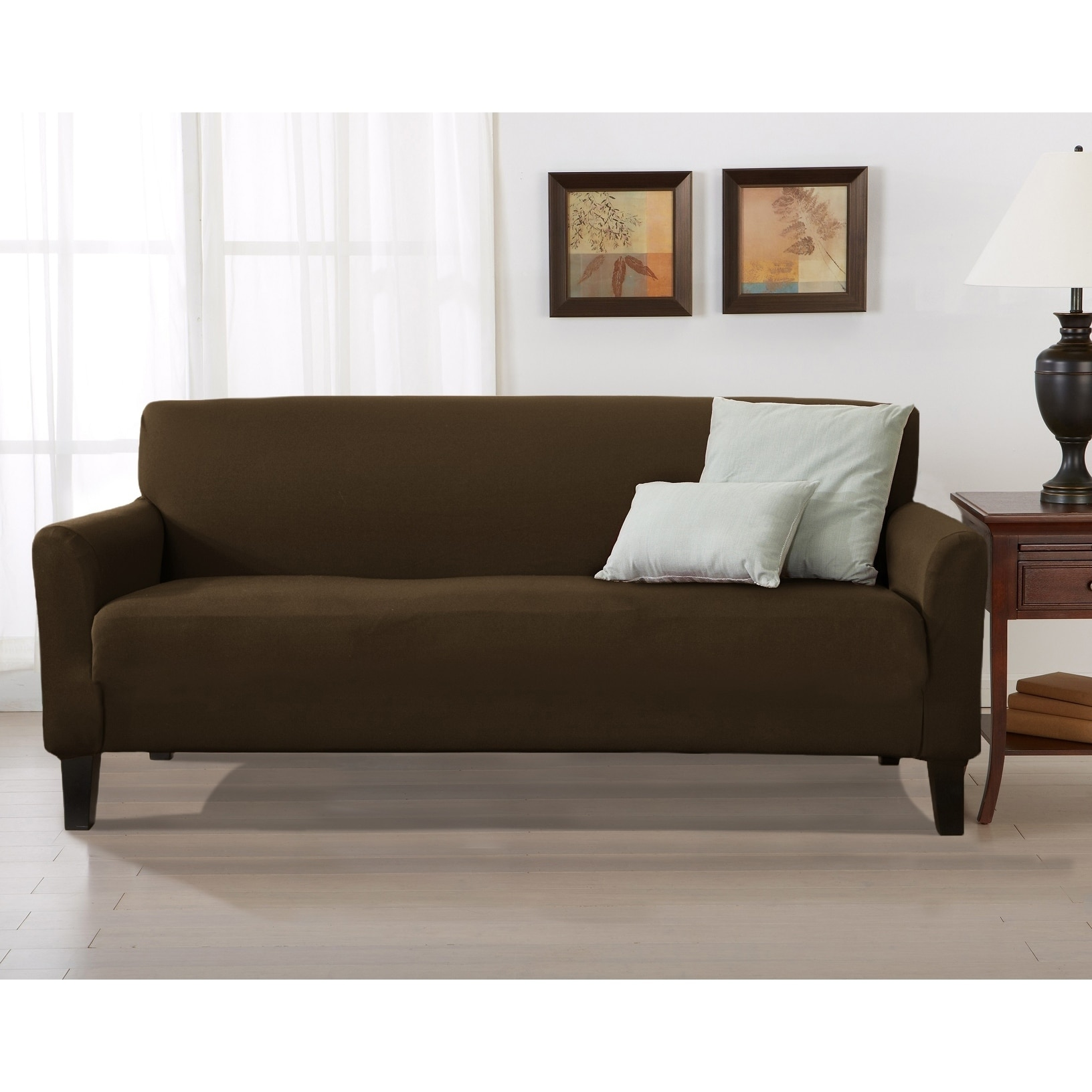 Home Fashion Designs Brenna Solid Collection Stretch Form Ed Sofa Slipcover On Free Shipping Orders Over 45 24301660