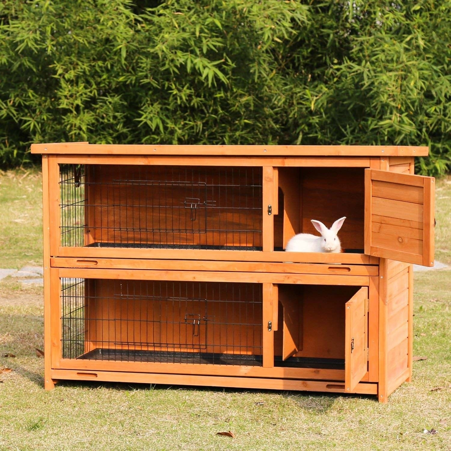 Kinbor Wooden Rabbit Hutch Bunny Cage Small Animal House Pet Wood