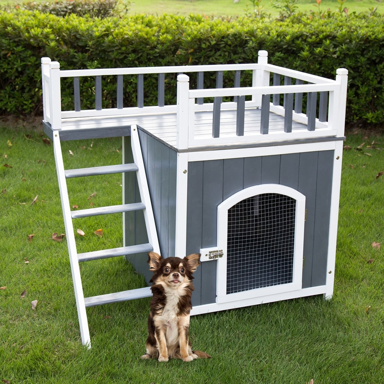 Shop Kinbor Wooden Puppy Dog House Indoor Outdoor Pet Balcony Bed