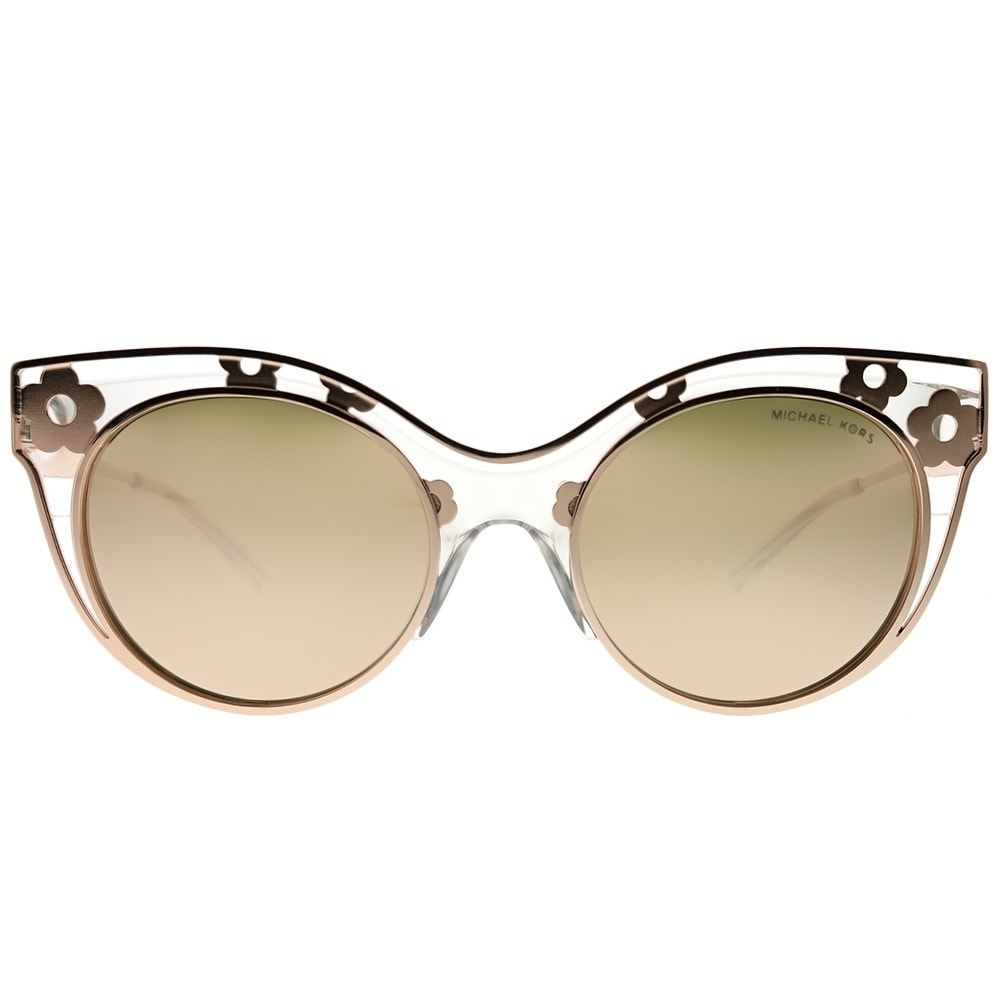d280558770 Shop Michael Kors Cat-Eye MK 1038 Melbourne 30505A Woman Crystal Clear  Frame Liquid Rose Gold Mirror Lens Sunglasses - Free Shipping Today -  Overstock - ...