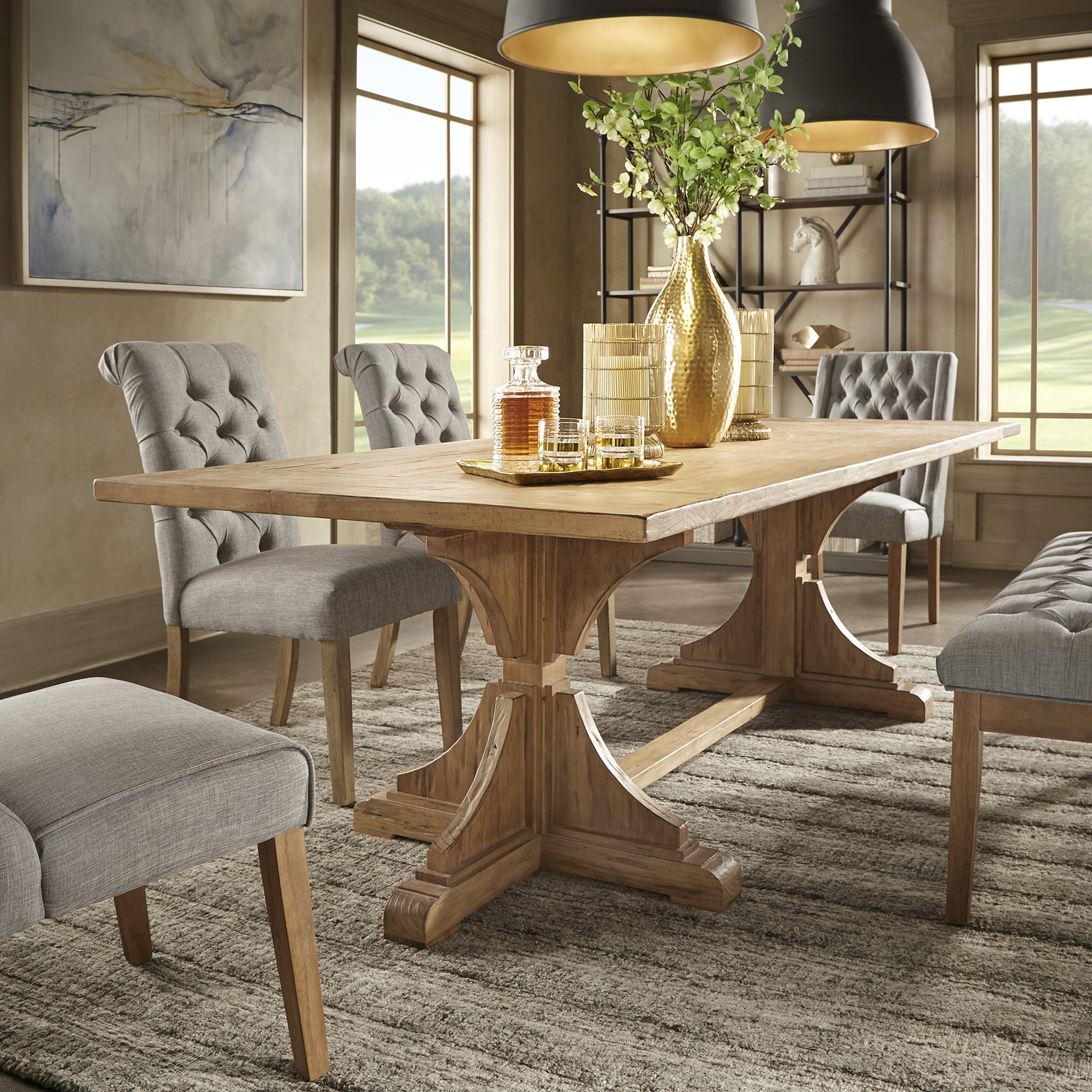 Yarla reclaimed natural finish 96 inch trestle dining table by inspire q artisan
