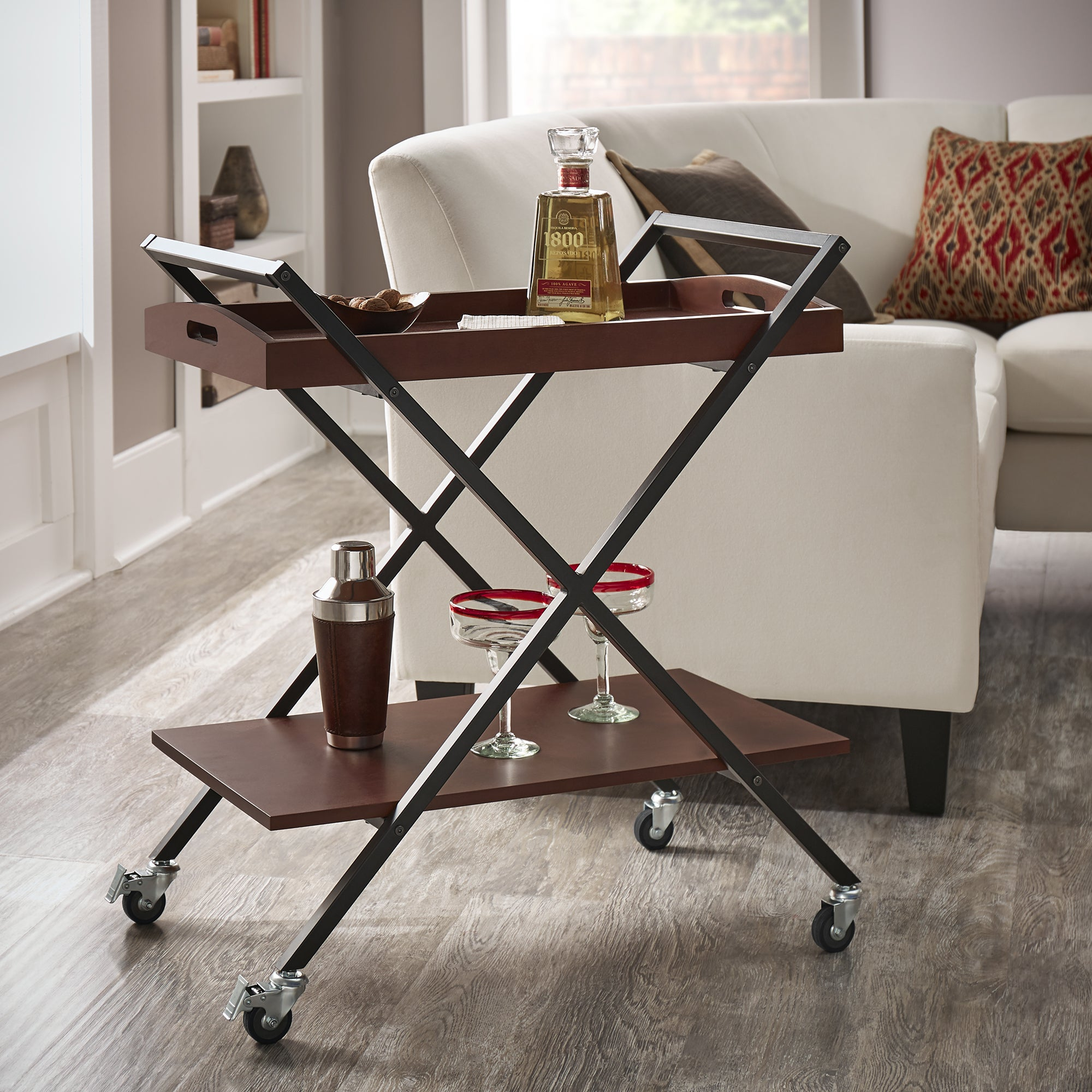 Kash black finish metal and wood bar cart by inspire q classic