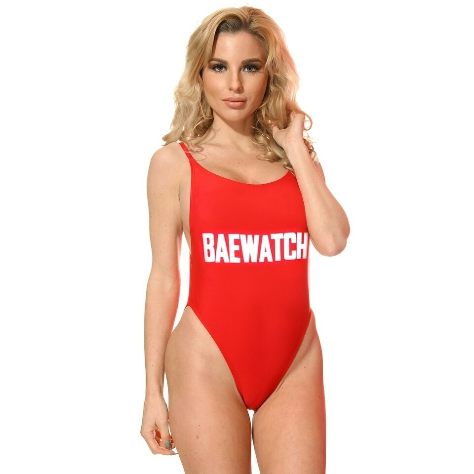 4d11ee252e Shop Red Baewatch Suit High Cut Vintage Swimsuit - Free Shipping On ...