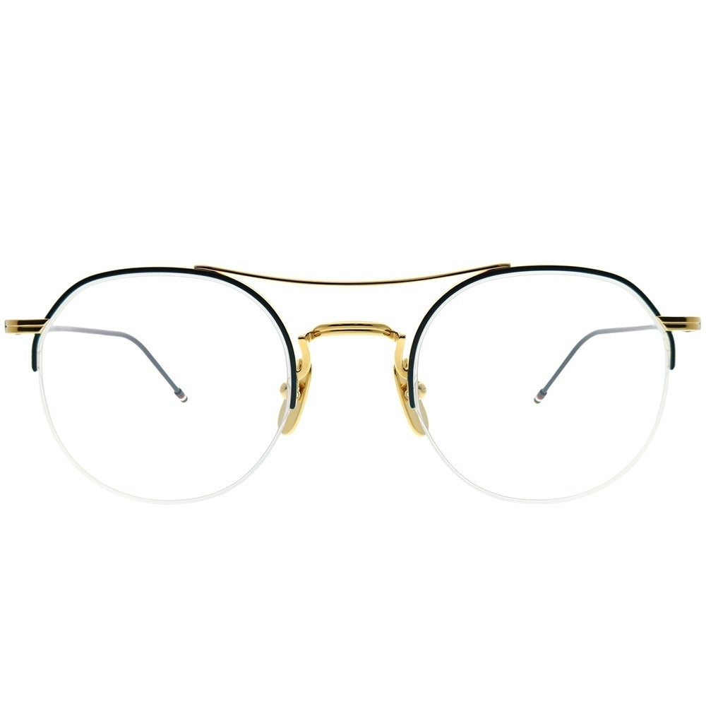 45d6fb05c Shop Thom Browne Semi-Rimless TB-903 Semi-Rimless Round B-NVY-GLD-49 Unisex  Gold-Navy Enamel Frame Eyeglasses - Free Shipping Today - Overstock -  24320687