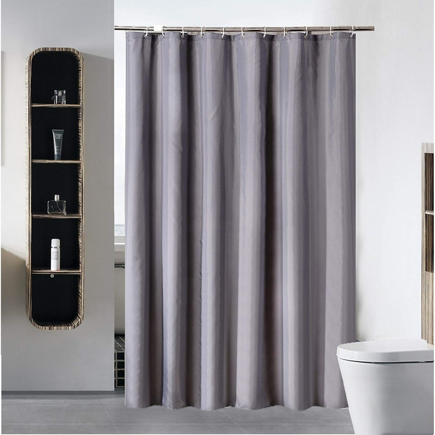 Shop Shower Curtain Liner Water Repellent Fabric Pure Gray