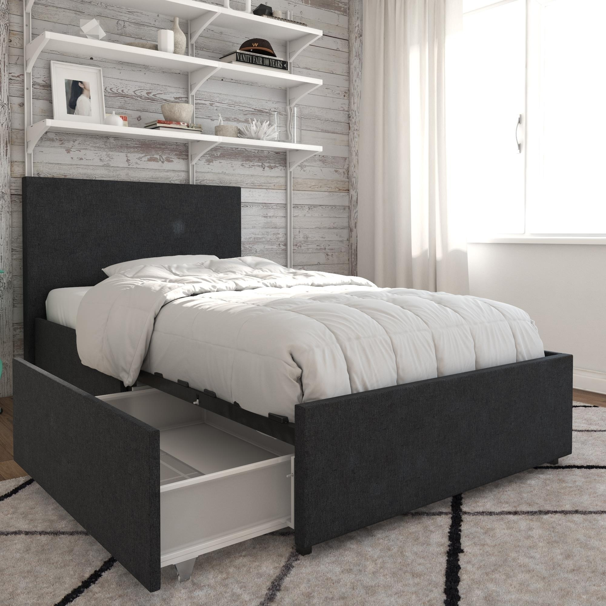 Novogratz Kelly Linen Upholstered Bed With Storage Free Shipping Today 24331726