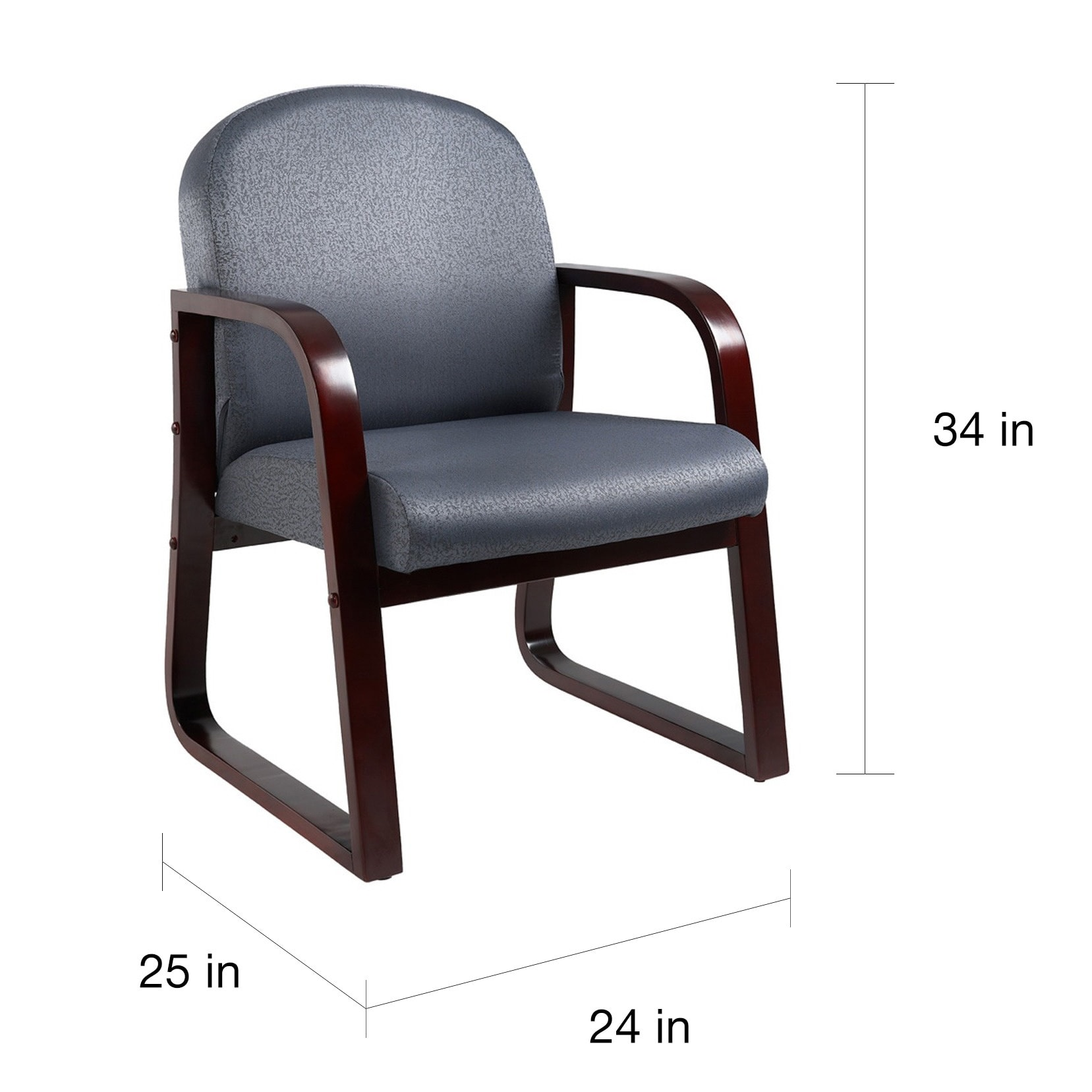 Lovely Boss Sled Base Mahogany Wood Reception Chair - Free Shipping Today  UR23