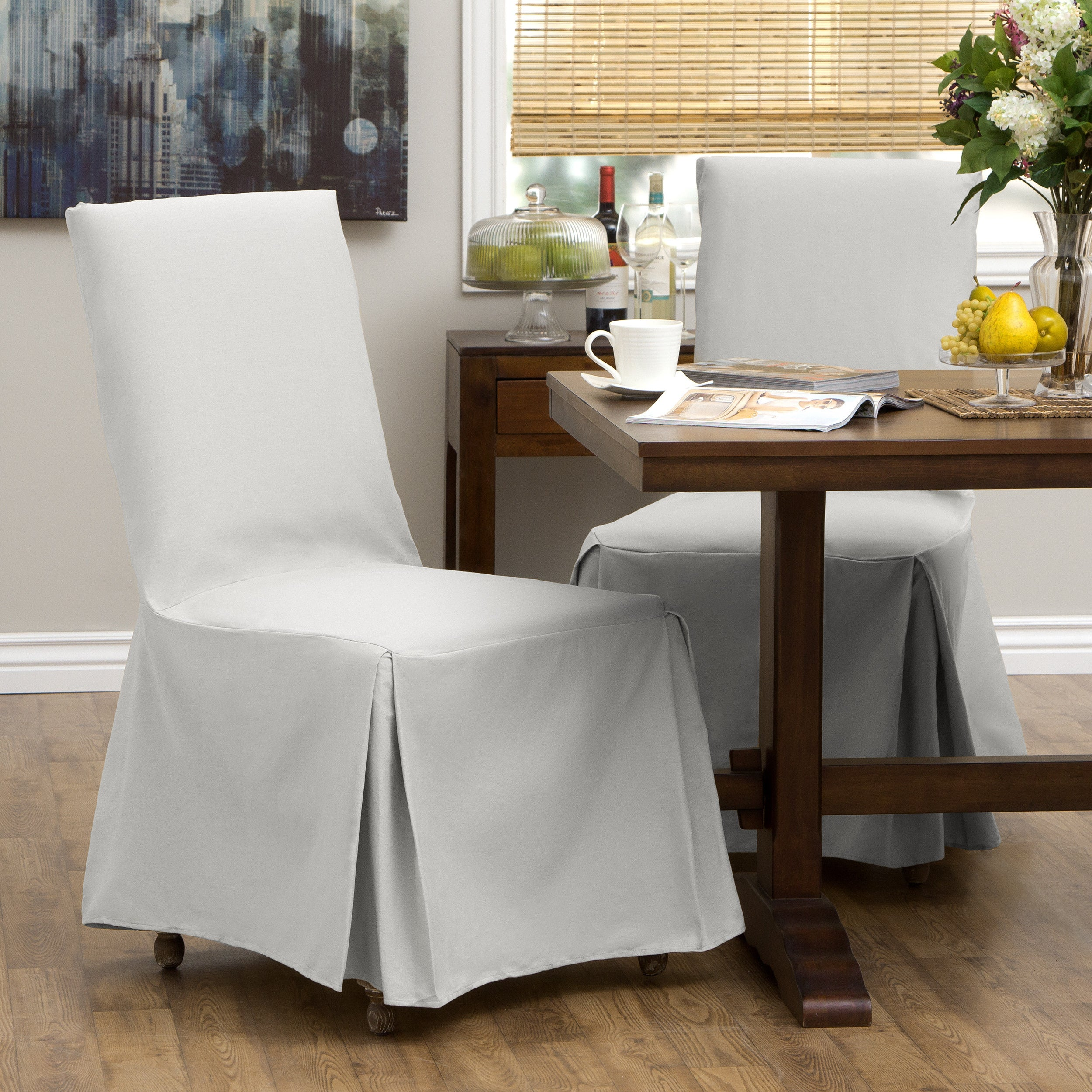 Elegant Classic Slipcovers Cotton Duck Parsons Chair Slipcover Pair   Free Shipping  Today   Overstock   10672045