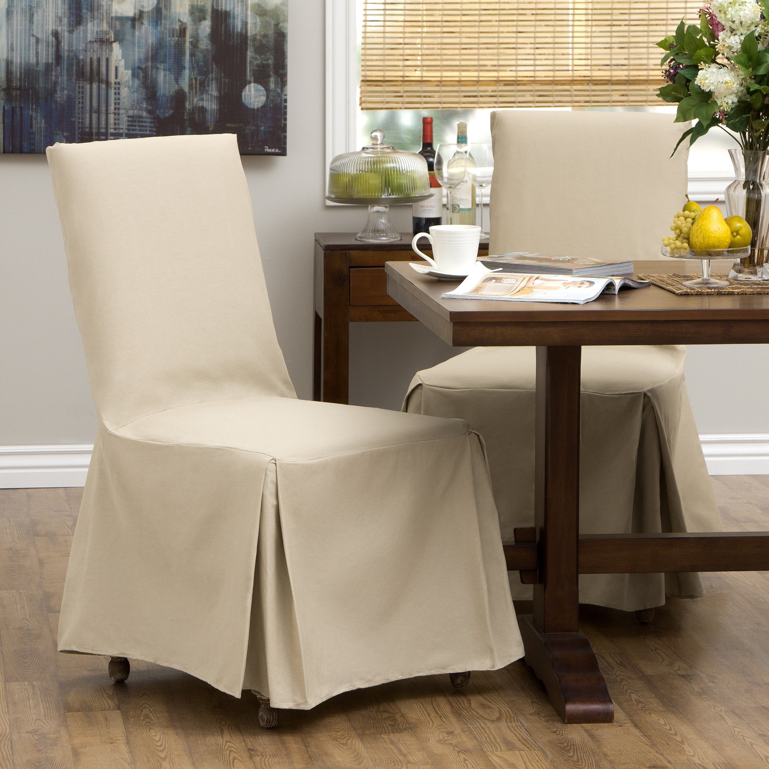 Shop classic slipcovers cotton duck parsons chair slipcover pair free shipping on orders over 45 overstock com 2442829