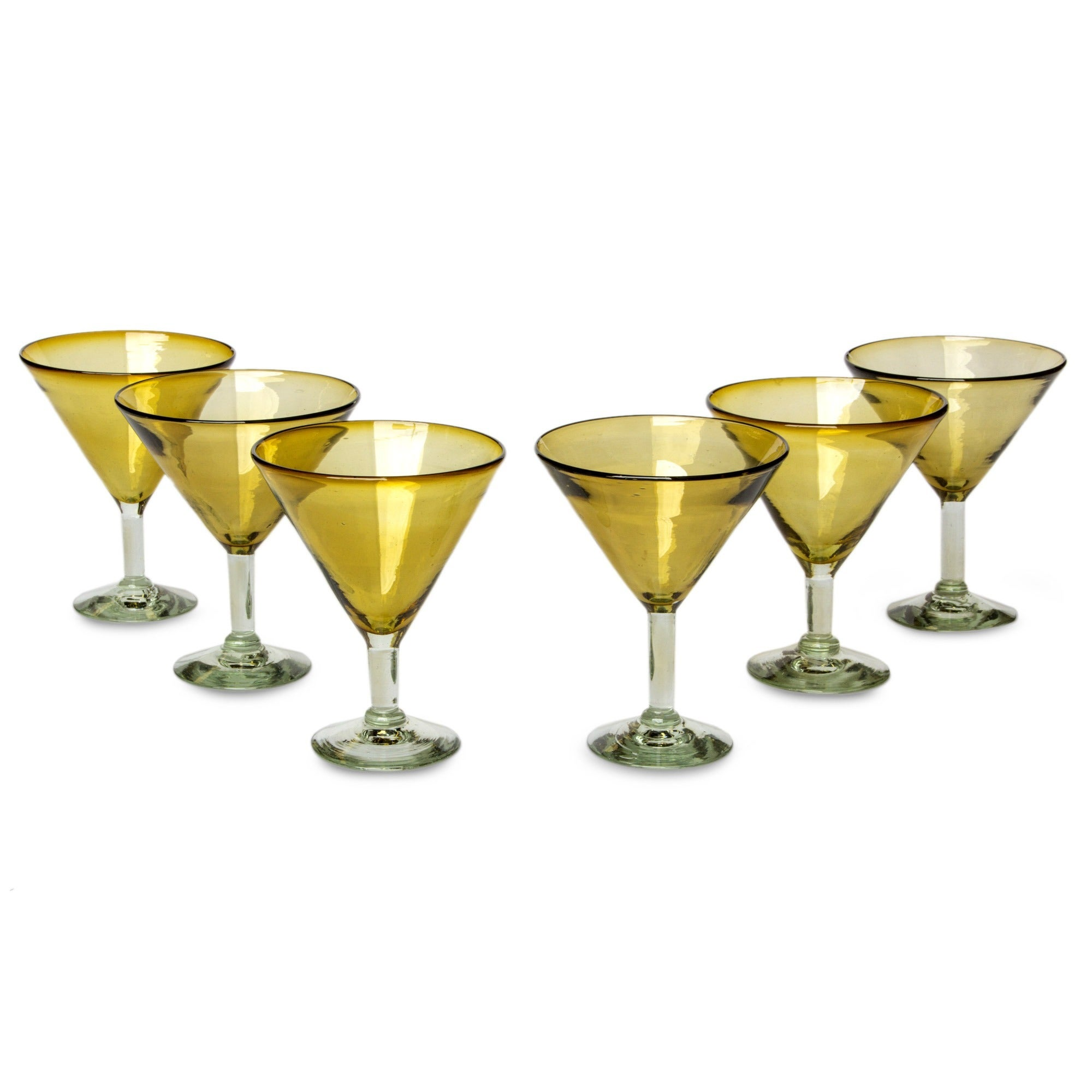 Handmade Set of 6 Amber Martini Glasses (Mexico) - Free Shipping ...