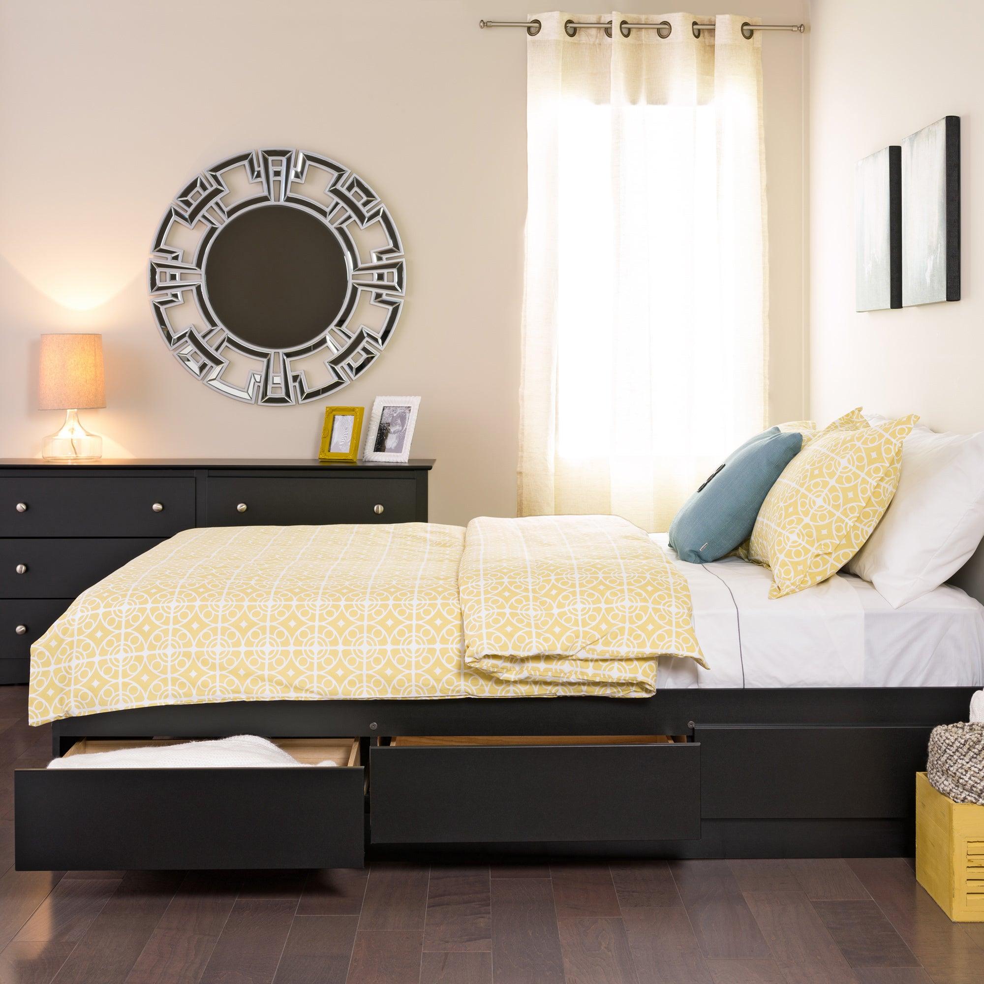 Shop Black Queen Mates 6 Drawer Platform Storage Bed Free
