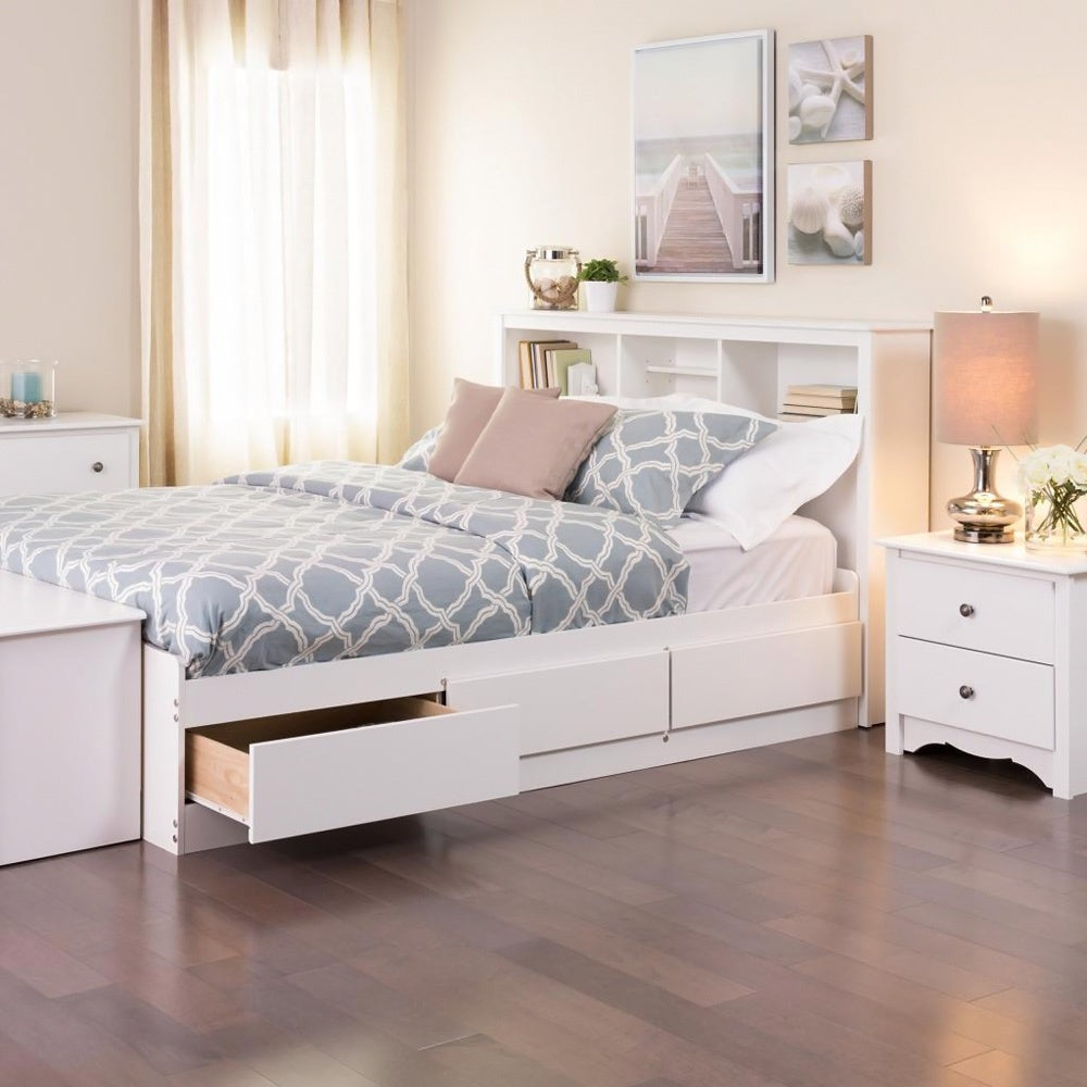 Laurel Creek Vera White Full/Double Platform Storage Bed   Free Shipping  Today   Overstock.com   10687571