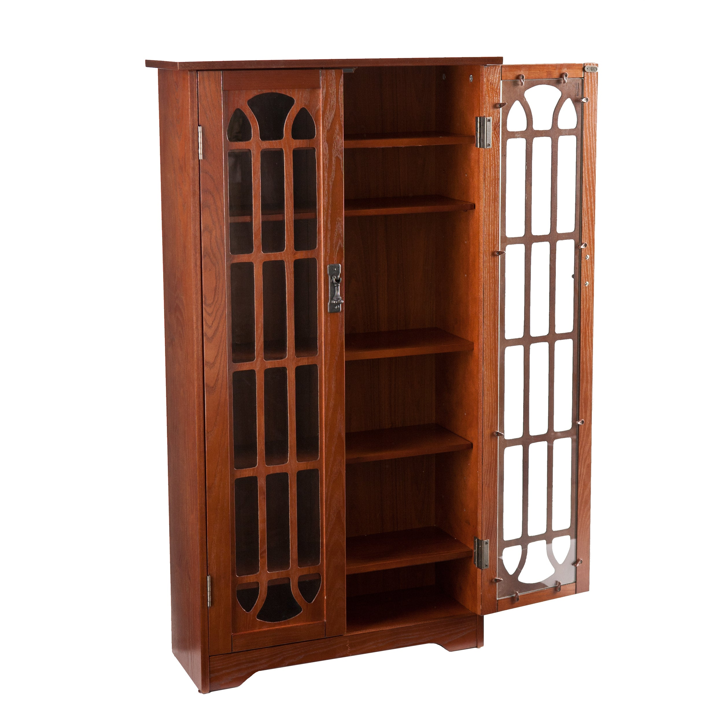 Shop Laurel Creek Silas 6 Shelf Oak Media Cabinet   Free Shipping Today    Overstock.com   21490629