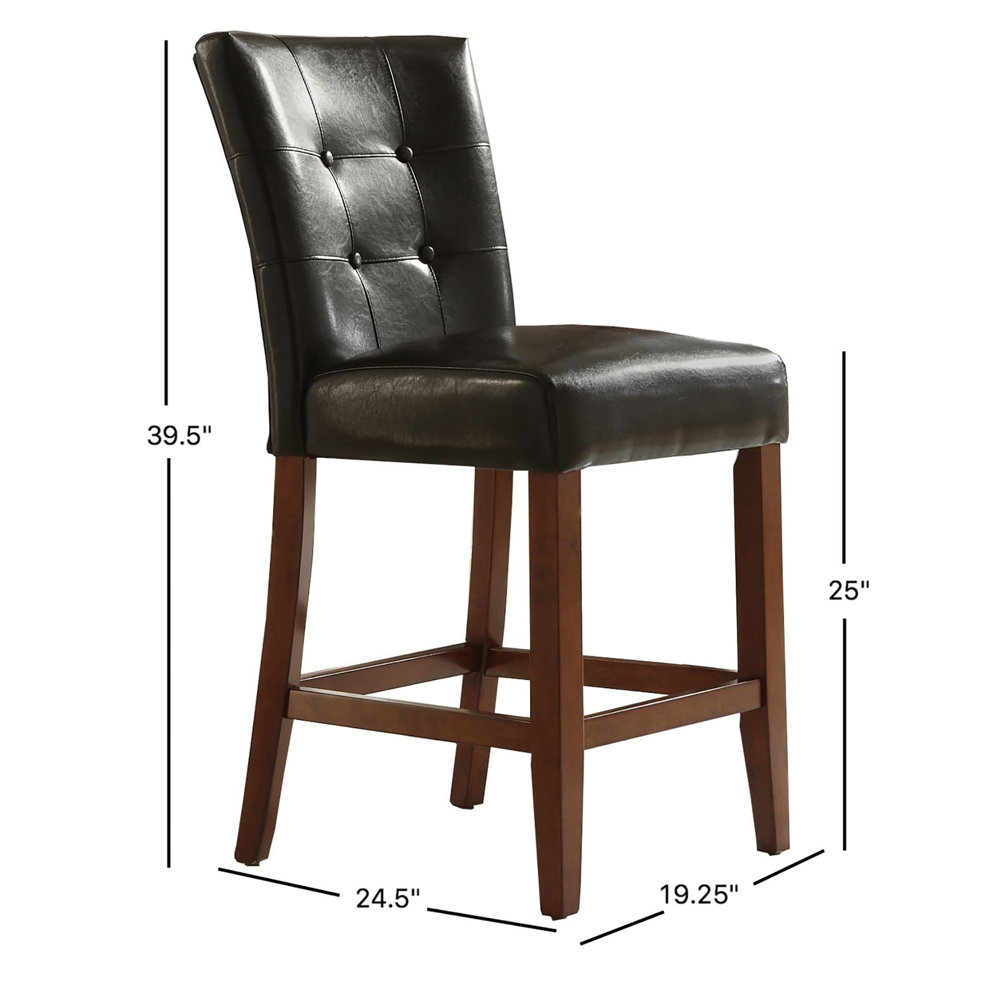 Shop tufted button high back dark brown pu 24 inch high back stools set of 2 by inspire q classic on sale free shipping today overstock 2484339
