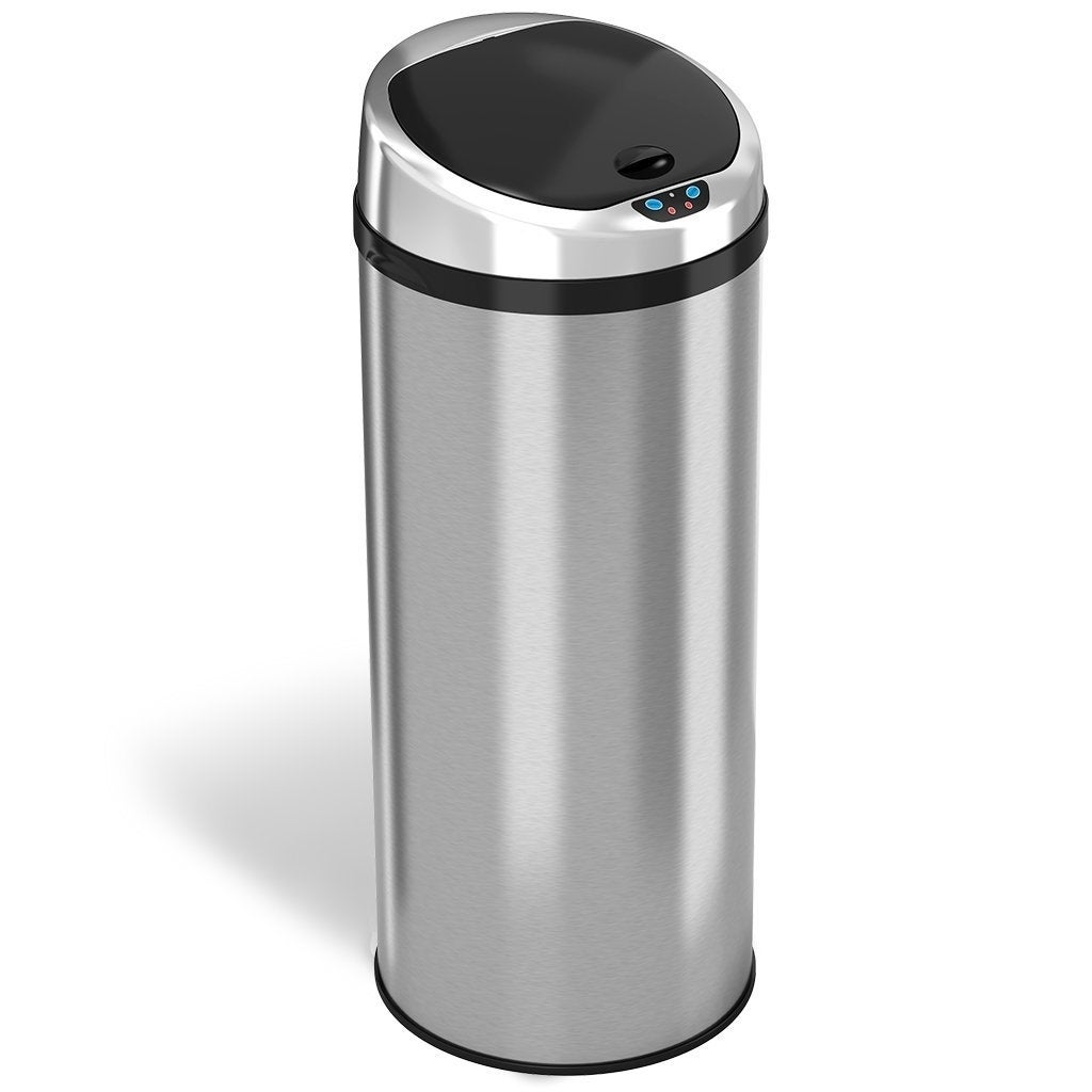 Itouchless Automatic Touchless Sensor Kitchen Trash Can Stainless Steel 13 Gallon 49 Liter Round Shape