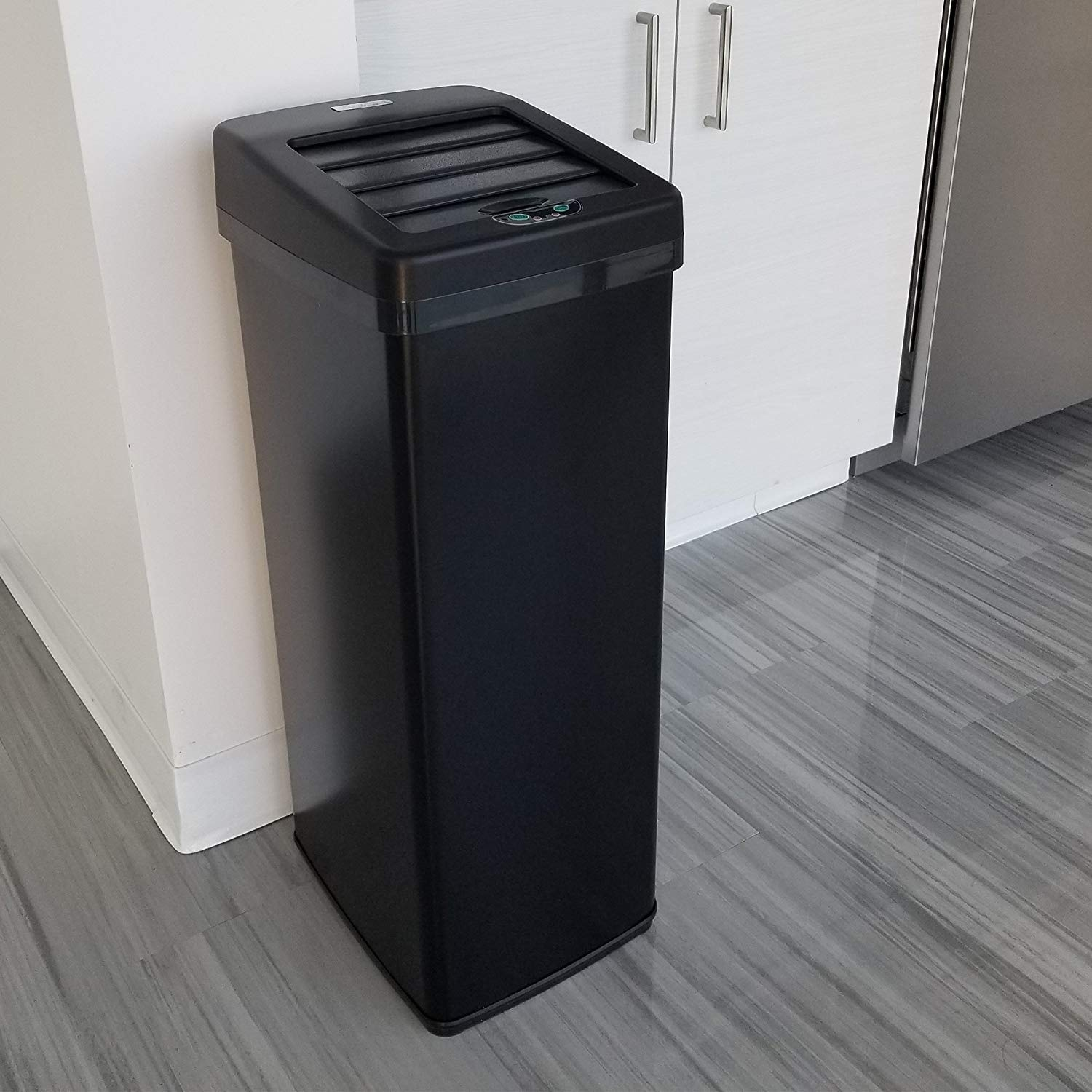 Itouchless Automatic Sensor Sliding Lid Steel Trash Can 14 Gallon 52 Liter Black Kitchen Free Shipping Today