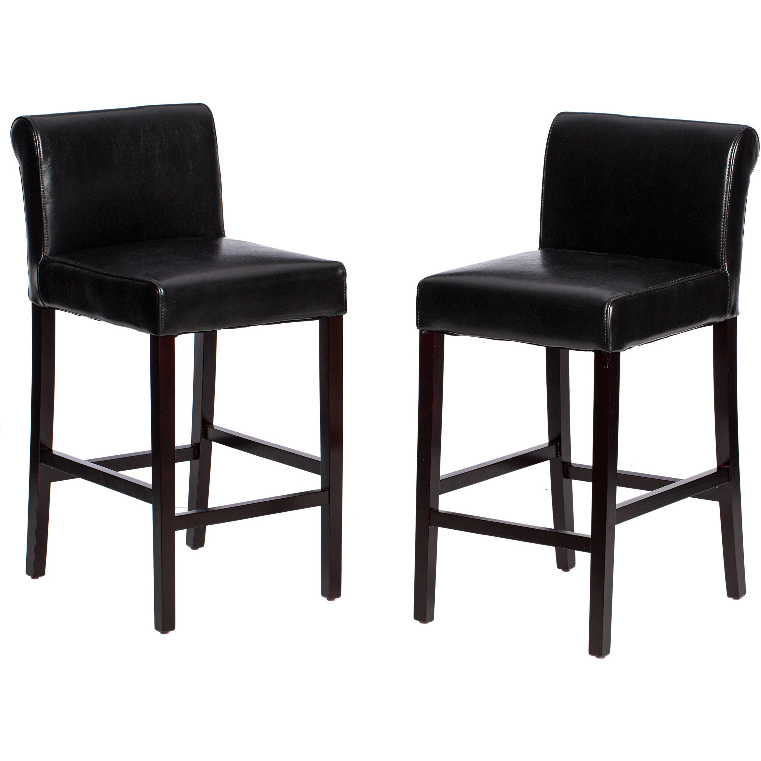 Shop jasper laine cosmopolitan black leather counter stools set of 2 free shipping today overstock com 2502522