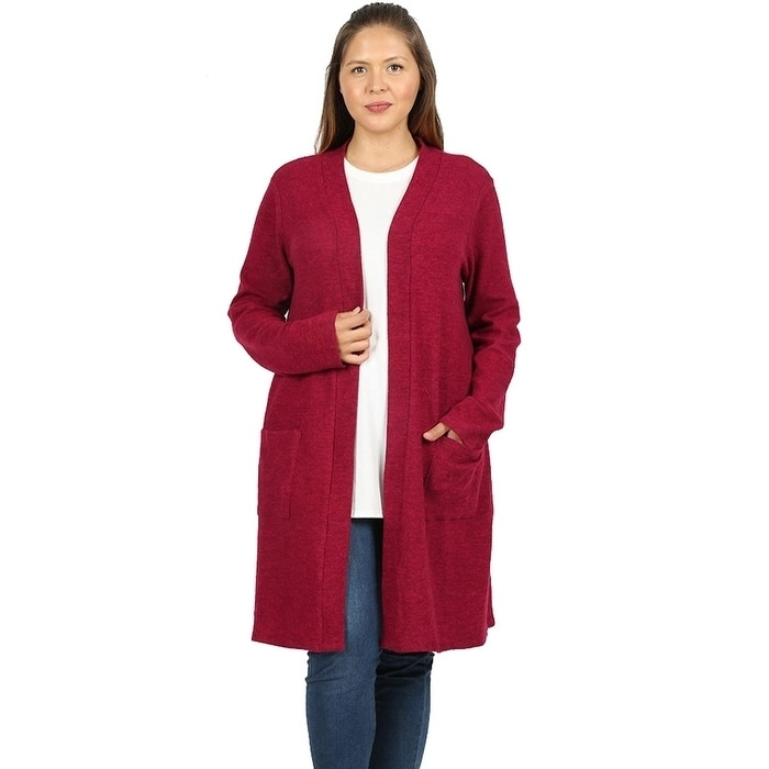 d0c00c33b7d94 Shop JED Women s Plus Size Marled Knit Cardigan with Pockets - On Sale -  Free Shipping On Orders Over  45 - Overstock - 25070384