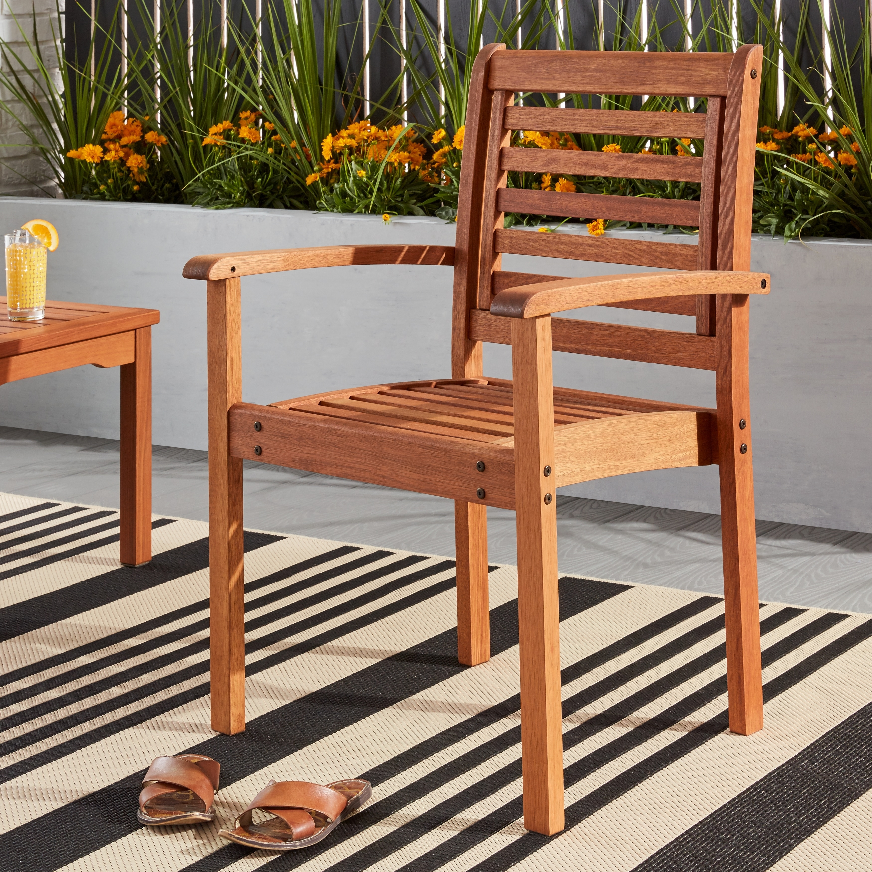 Havenside home tottenville eucalyptus wood stackable chair