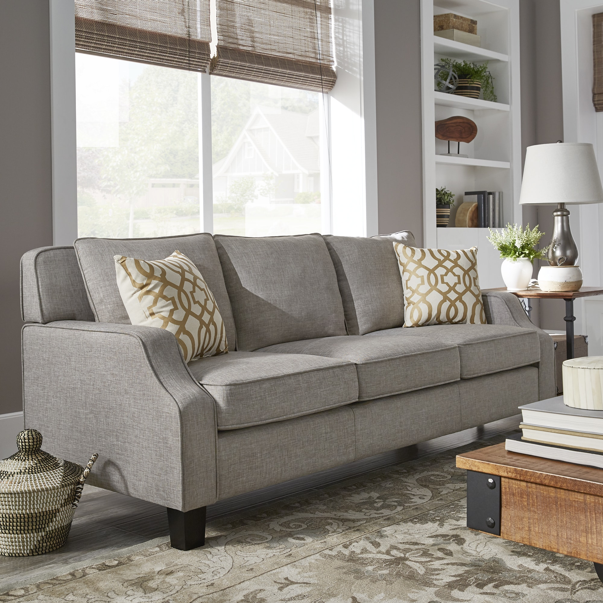 Parklee grey linen tailored track arm sofa and seating by inspire q classic