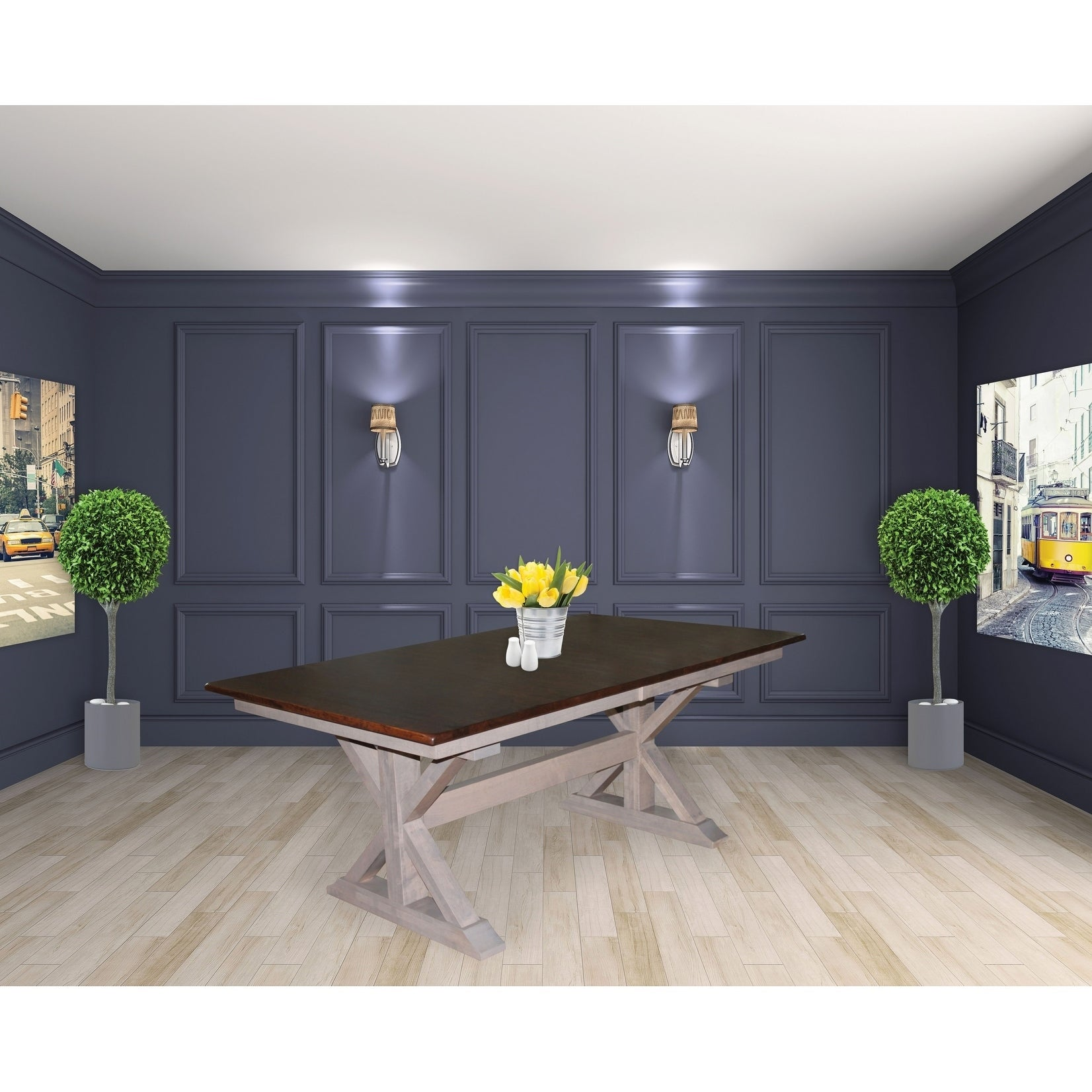 X Base Double Pedestal 6 Foot Dining Table W 18 Erfly Leaf Extension Free Shipping Today 25322499