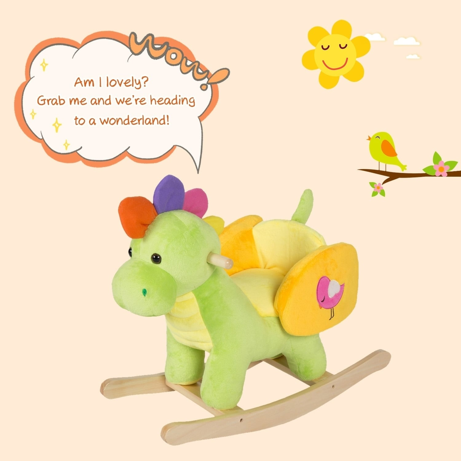Kinbor Kids Rocking Horse Plush Ride On Toy Animal Rocker Children S Day Birthday Gift W Nursery Rhymes Free Shipping Today