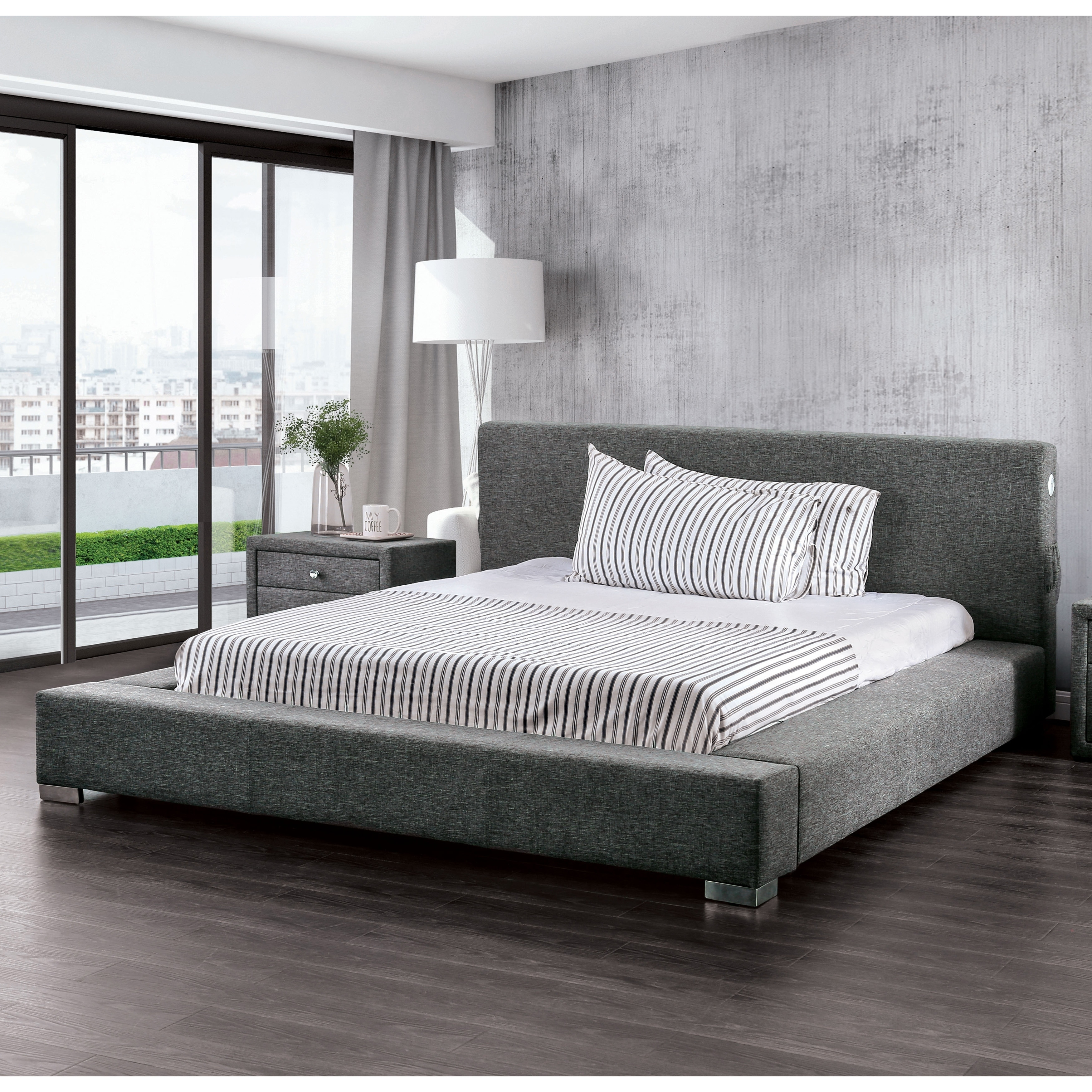 Furniture Of America Fitzroy Low Profile Grey Upholstered Bed On Free Shipping Today 25324468
