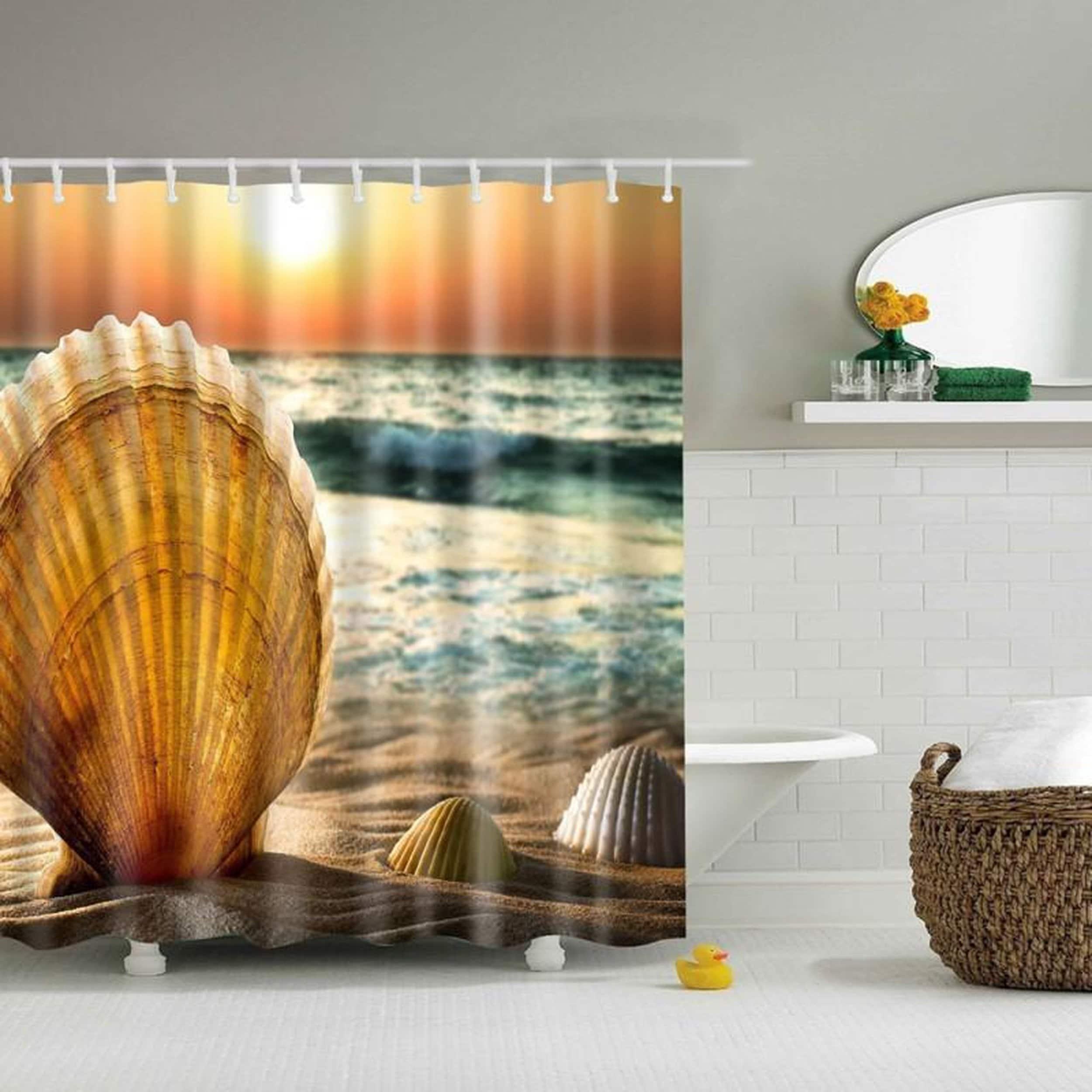Shop Bathroom Shower Curtains Retro Fabric Waterproof