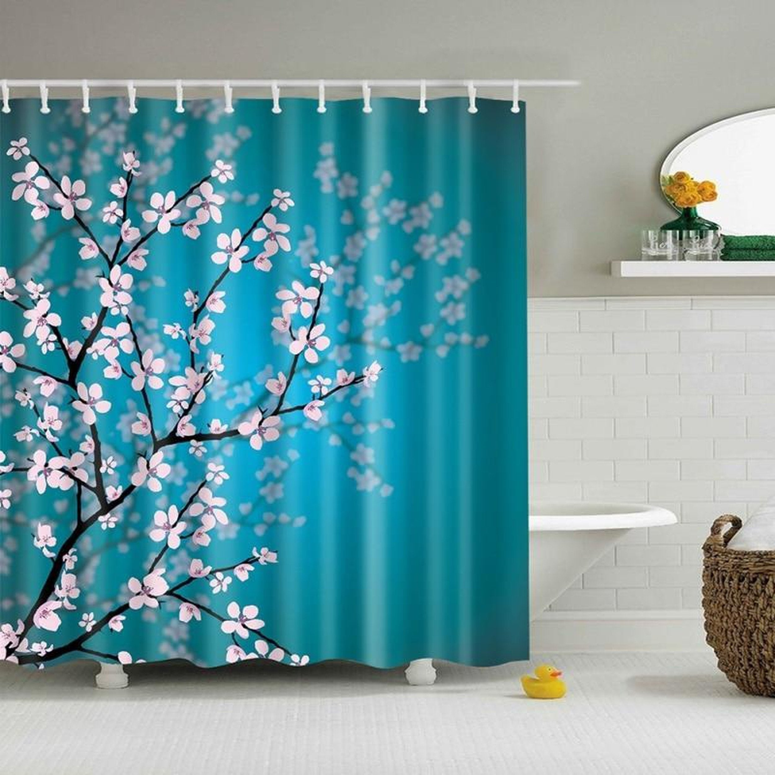 Shop Bathroom Shower Curtains Pink Blossoms Decor Leaves And Plants Spring Flowers