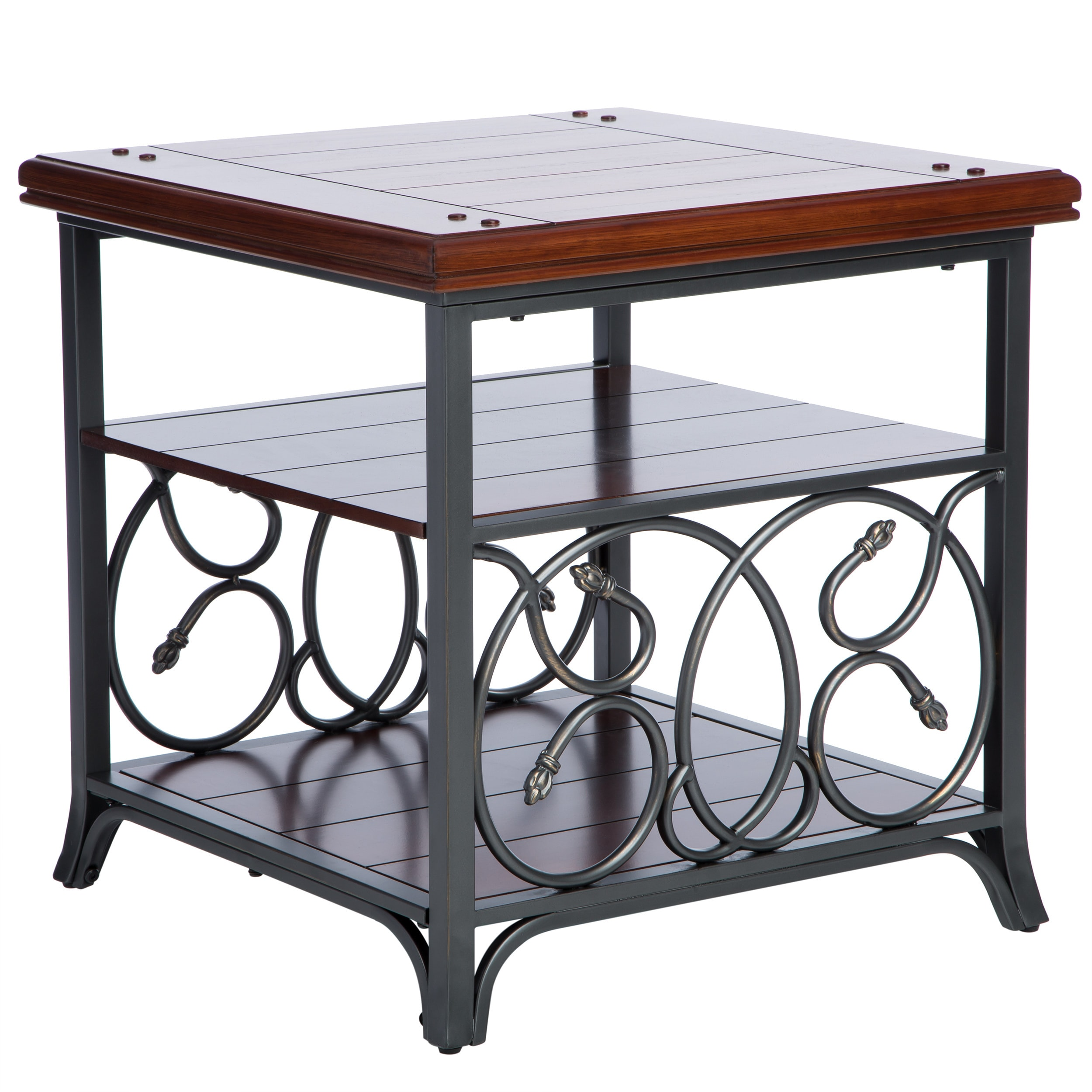 Gracewood Hollow Scrolled Metal and Wood End Table Free Shipping