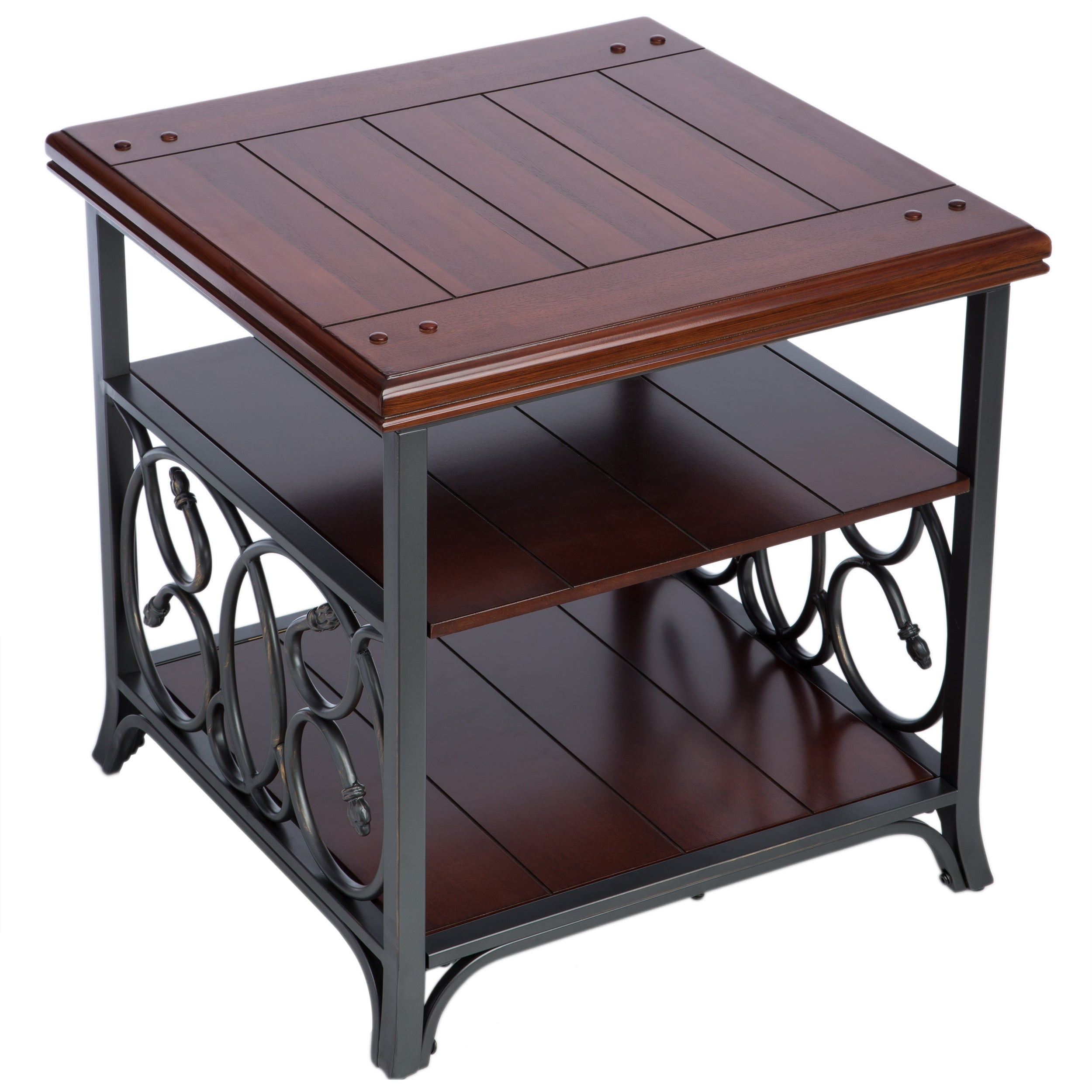 Scrolled Metal And Wood End Table Free Shipping Today 2536113