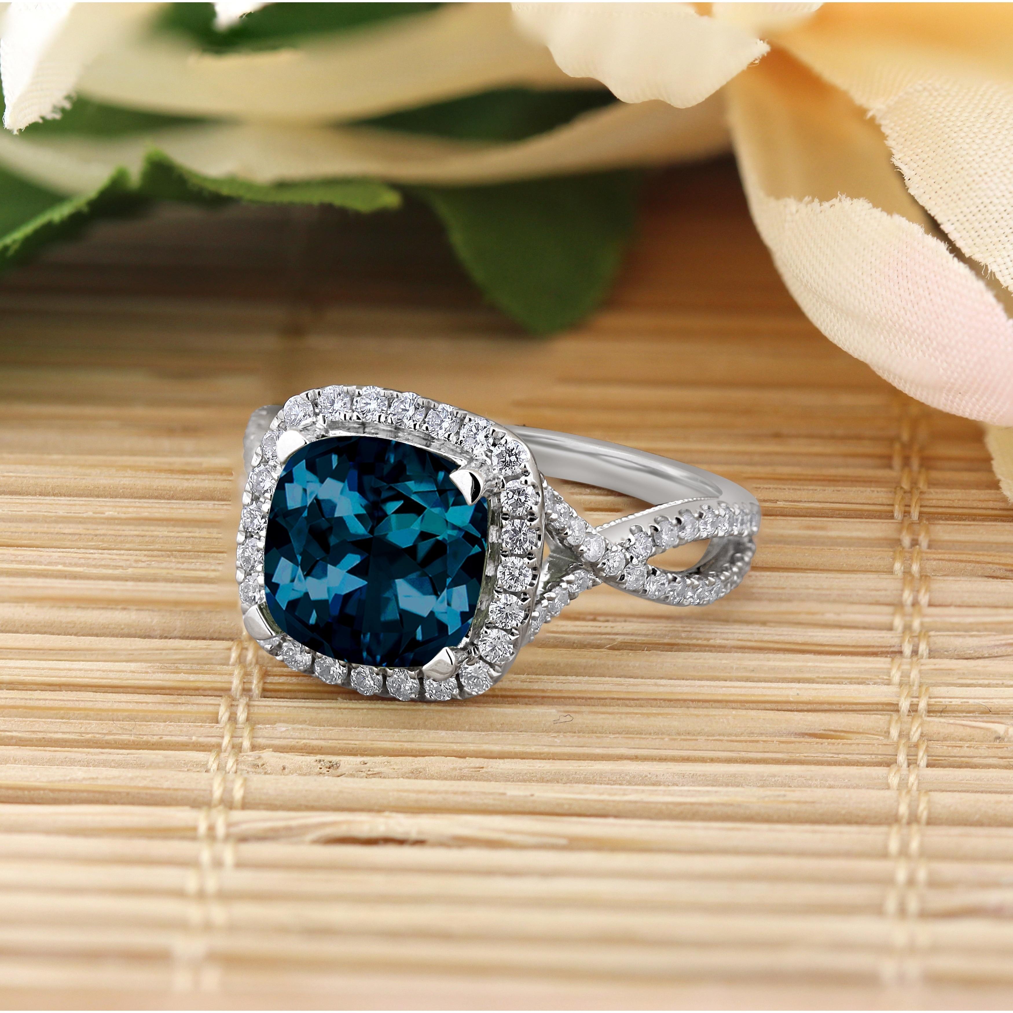 Auriya 3 1 8ct Fancy Cushion Cut London Blue Topaz And 1 2ctw Halo Diamond Engagement Ring 14k Gold
