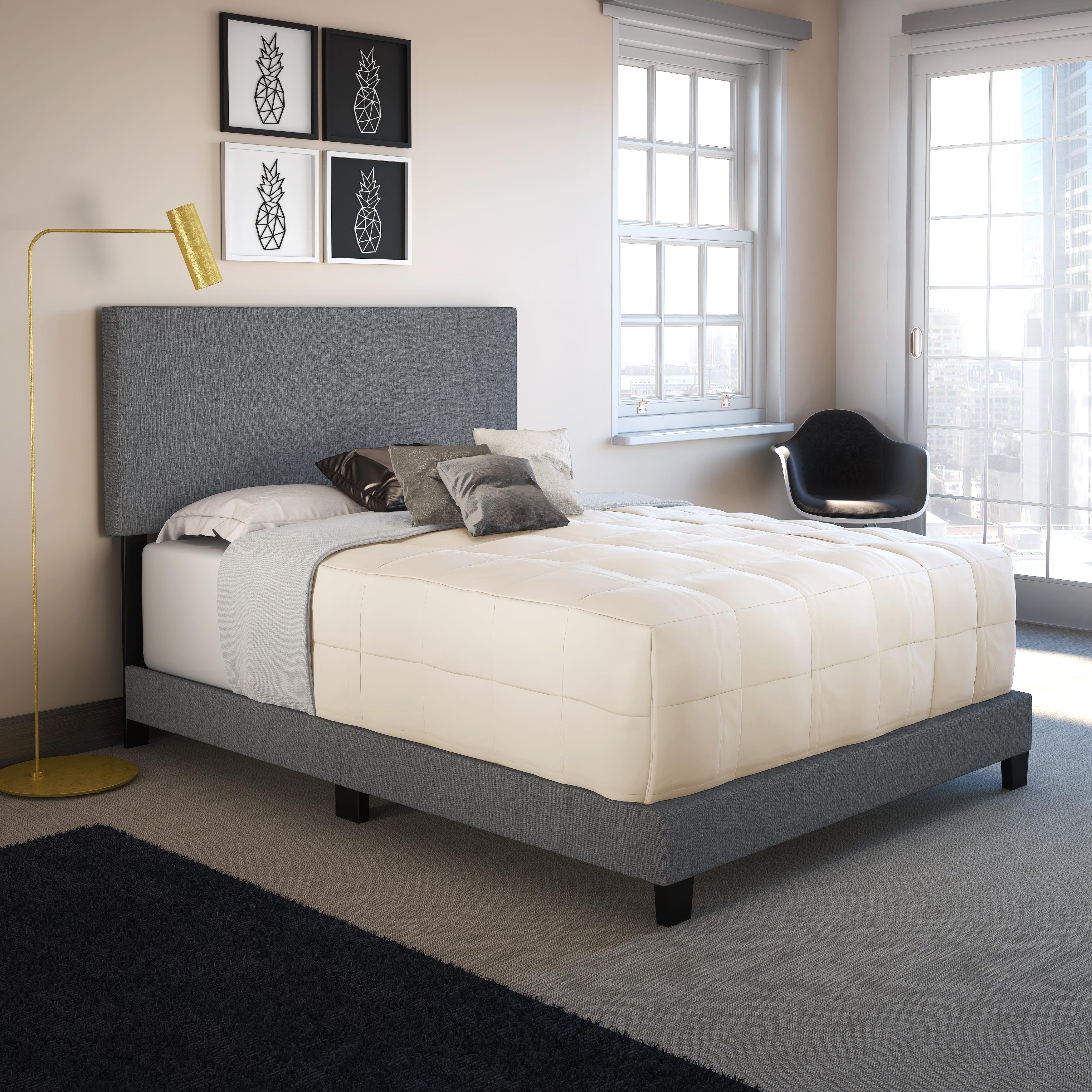 Upholstered platform bed frame Queen Sleep Sync Tivoli Grey Linen Upholstered Platform Bed Frame In Three Sizes Amazoncom Shop Sleep Sync Tivoli Grey Linen Upholstered Platform Bed Frame In
