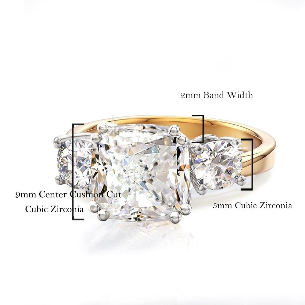 Cz, Moissanite & Simulated 3.65 Tcw Yellow Gold Triple Stone Cushion Cut Cz Royal Wedding Bridal Ring 5 Cheap Sales Jewelry & Watches