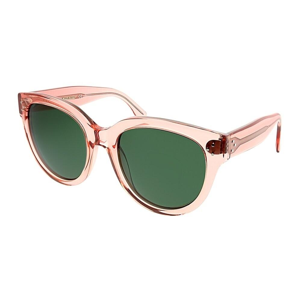 5fb1258f30 Celine Cat-Eye CL 41755 O1F Women Transparent Pink Frame Green Lens  Sunglasses