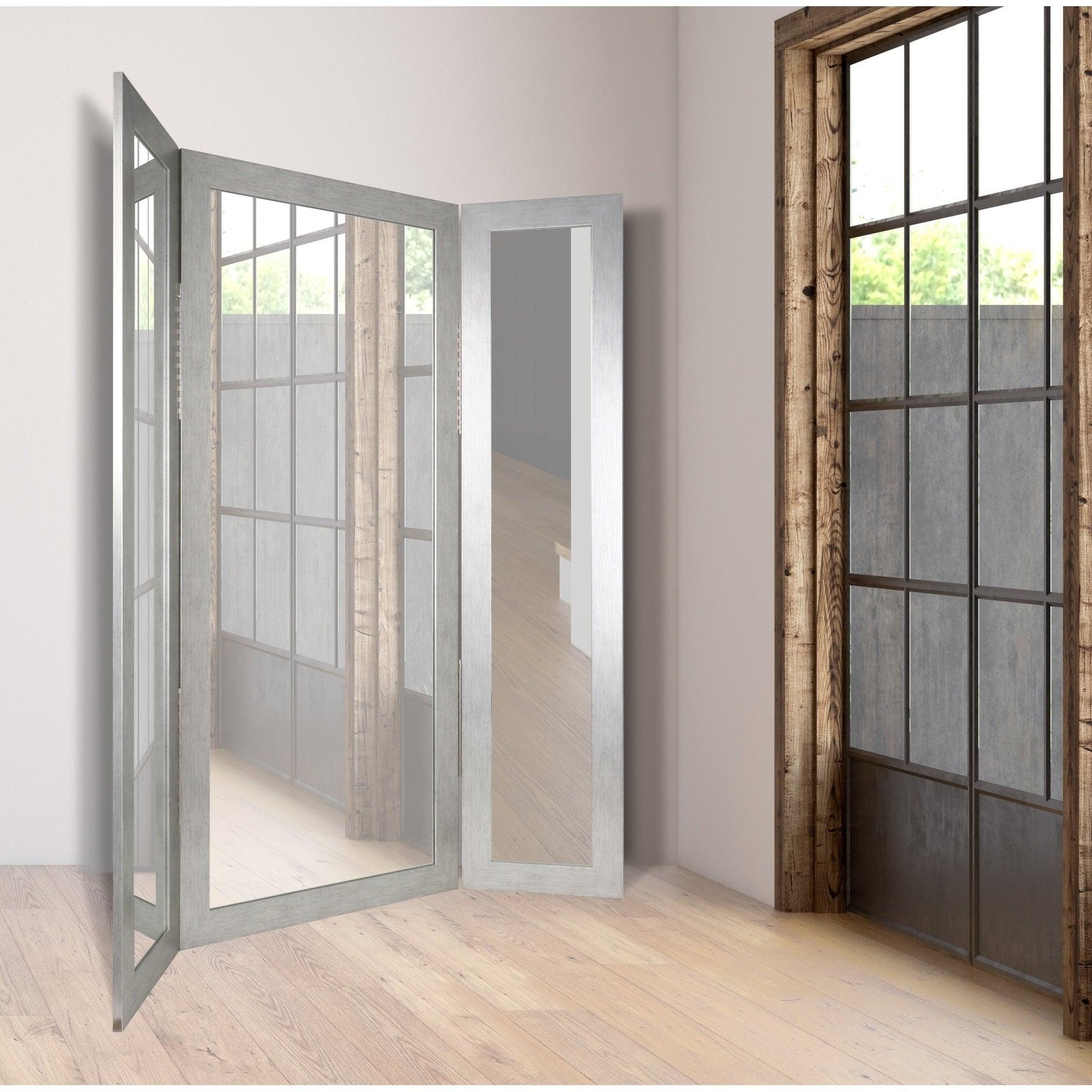Silver Grain Tri Fold 64 Inch X 71 Dressing Mirror Free Shipping Today 25416243
