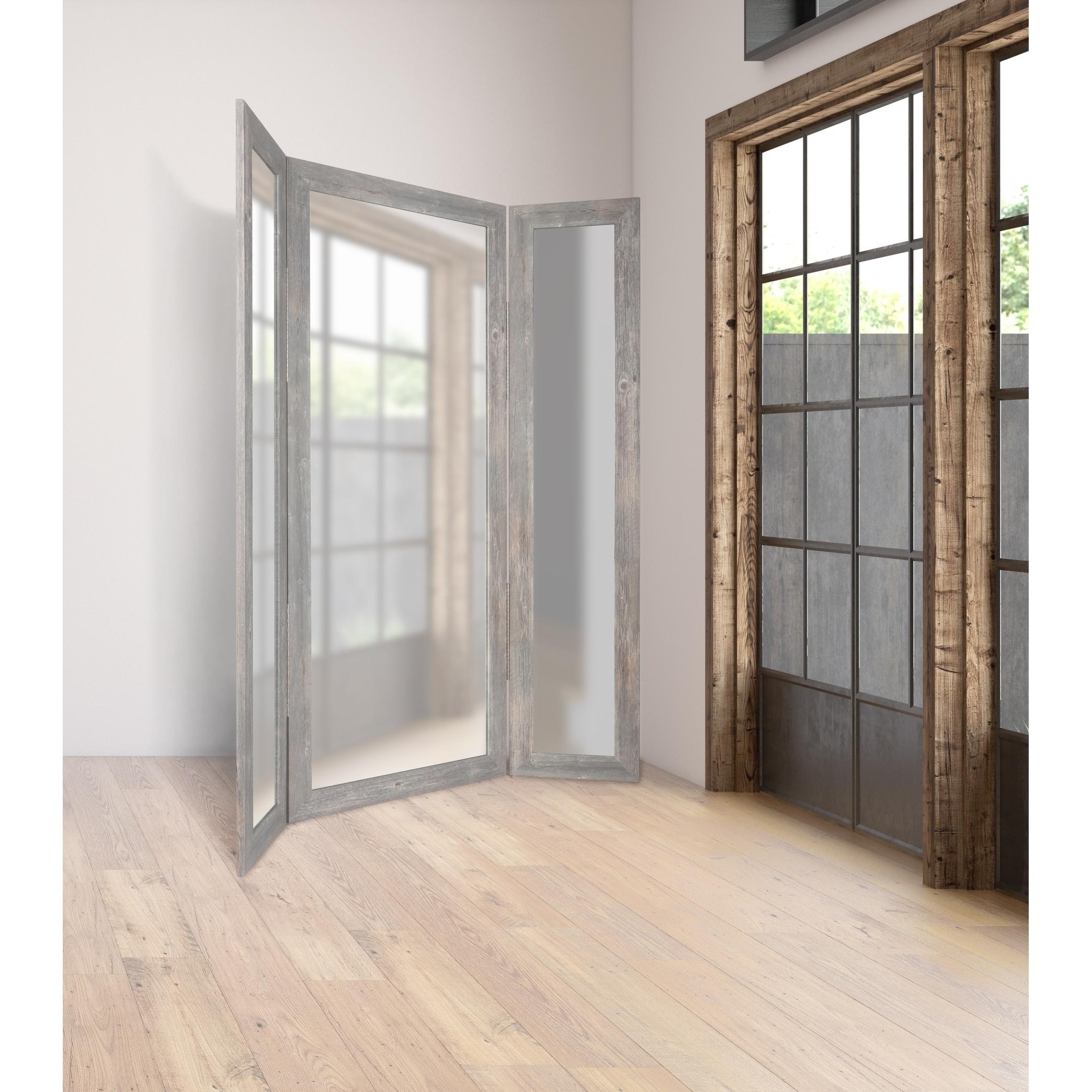 Modern Farmhouse Grey Barnwood Tri Fold Dressing Mirror Free Shipping Today 25416263
