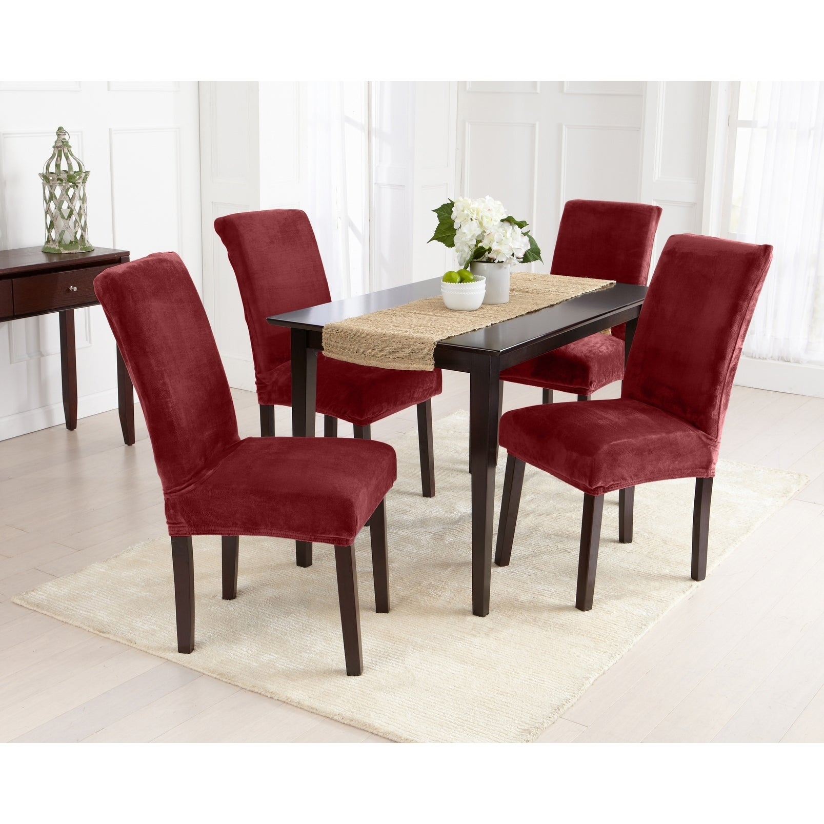 Great Bay Home 2 Pack Velvet Plush Solid Dining Room Chair Cover
