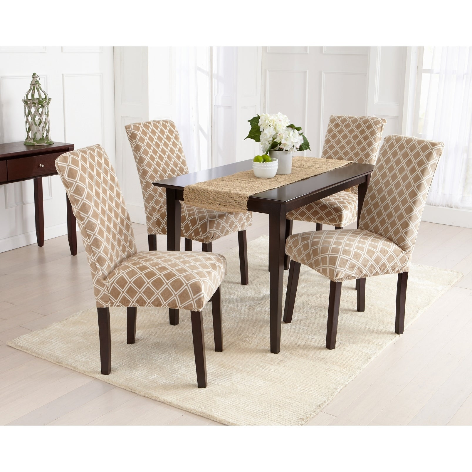 Shop Great Bay Home 4 Pack Velvet Plush Printed Dining Room Chair Cover