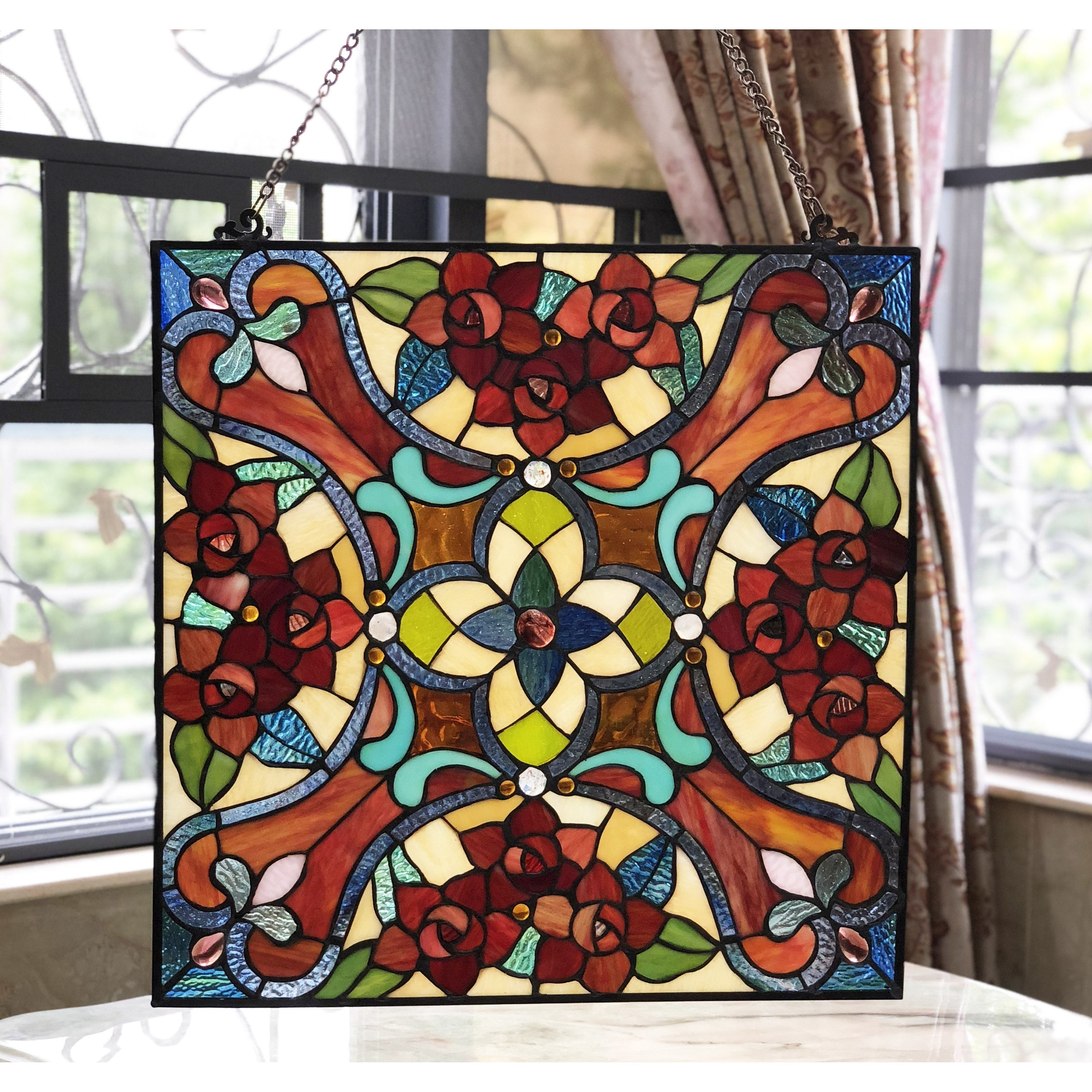 Shop Chloe Tiffany Style Square Stained Glass Window Panel On Sale Overstock 25417441