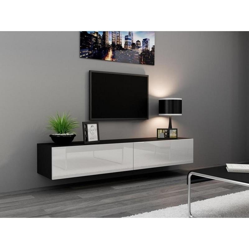 Shop Vigo High Gloss Black And White Tv Stand On Sale Free